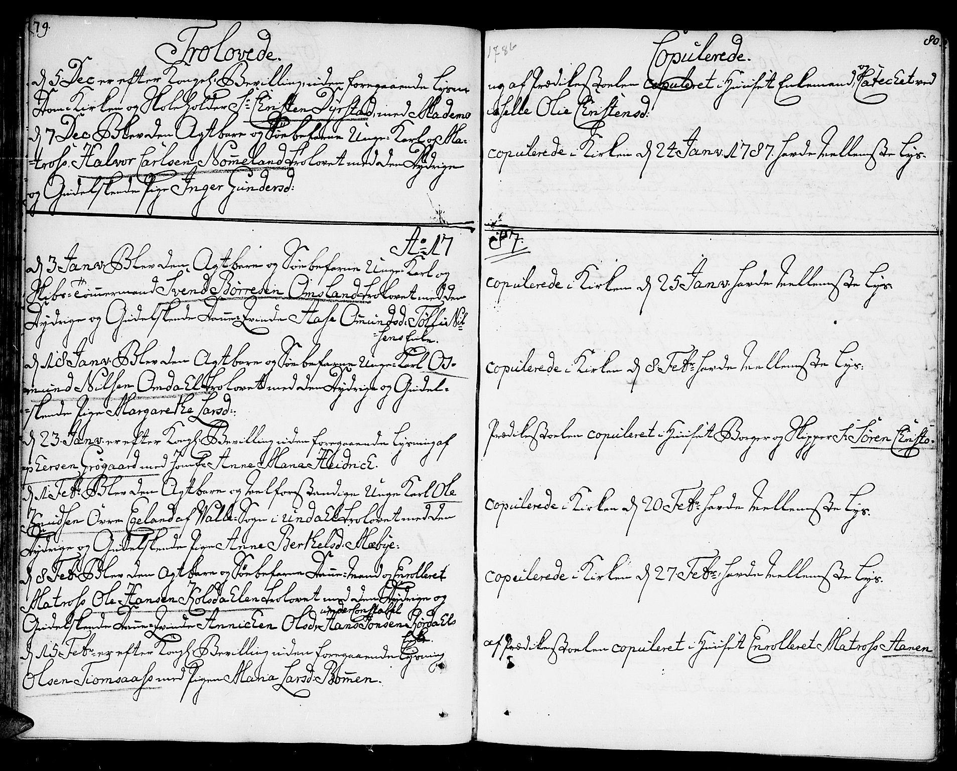 SAK, Kristiansand domprosti, F/Fa/L0005: Parish register (official) no. A 5, 1776-1818, p. 79-80