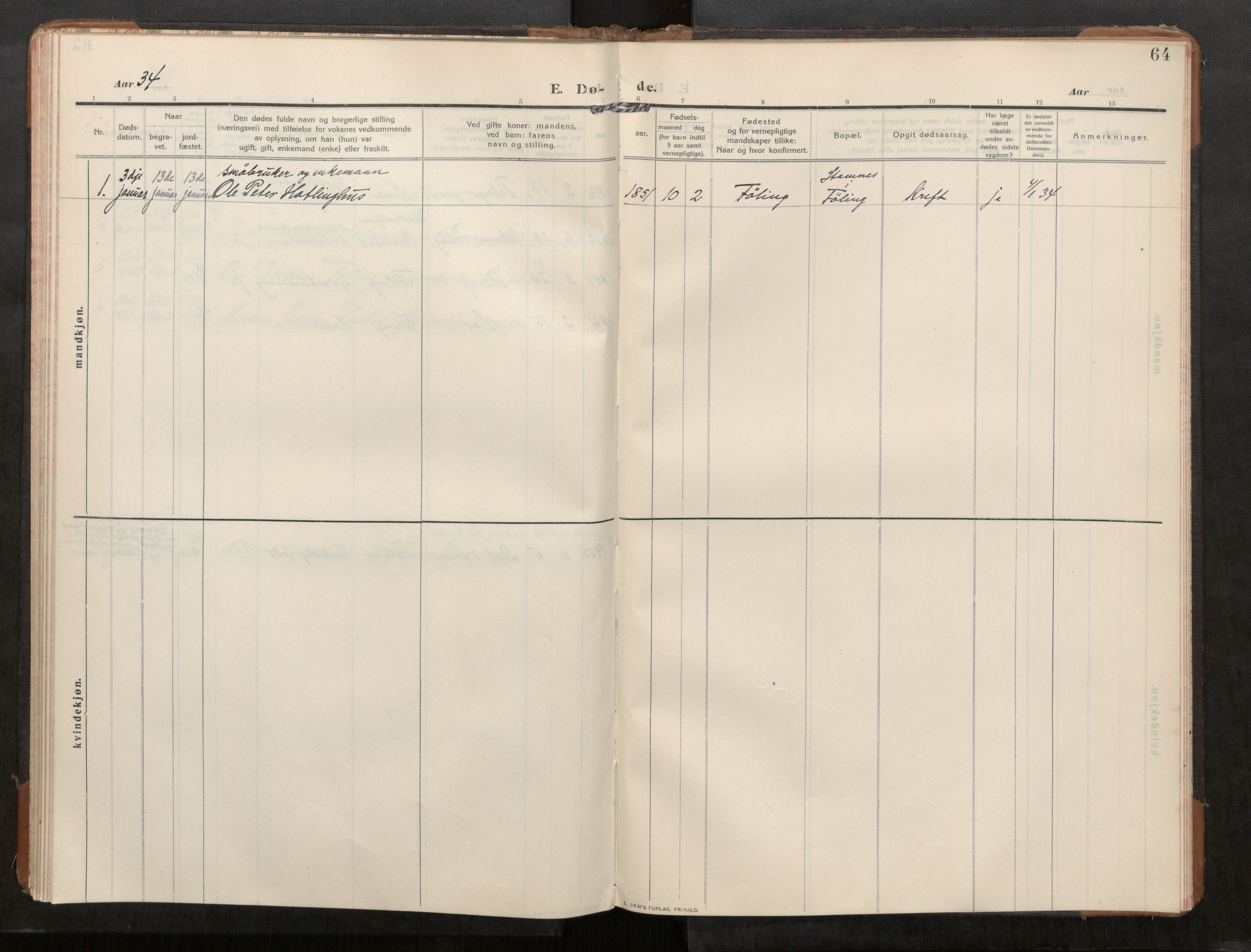 SAT, Stod sokneprestkontor, I/I1/I1a/L0003: Parish register (official) no. 3, 1909-1934, p. 64