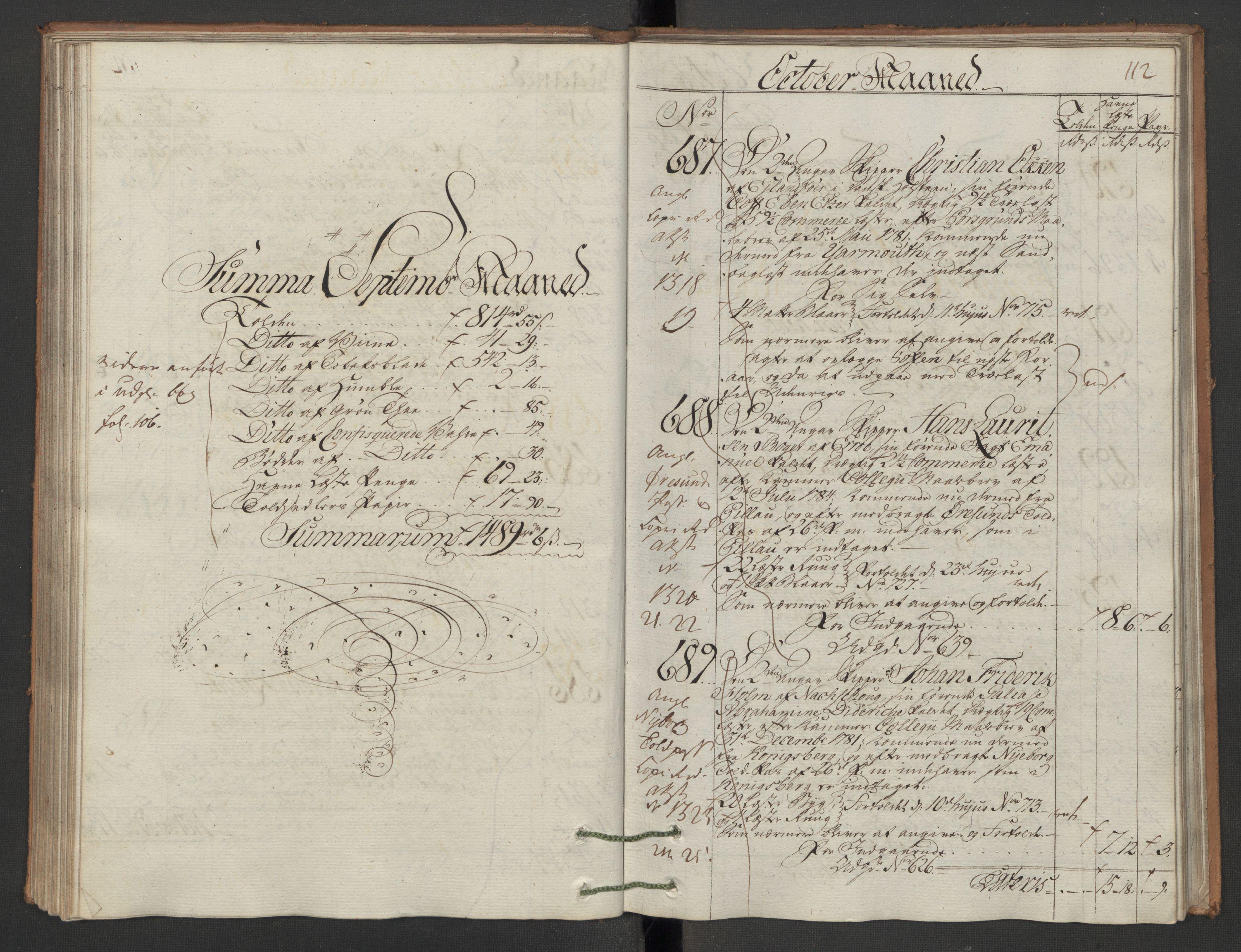RA, Generaltollkammeret, tollregnskaper, R12/L0118: Tollregnskaper Langesund, 1786, p. 111b-112a