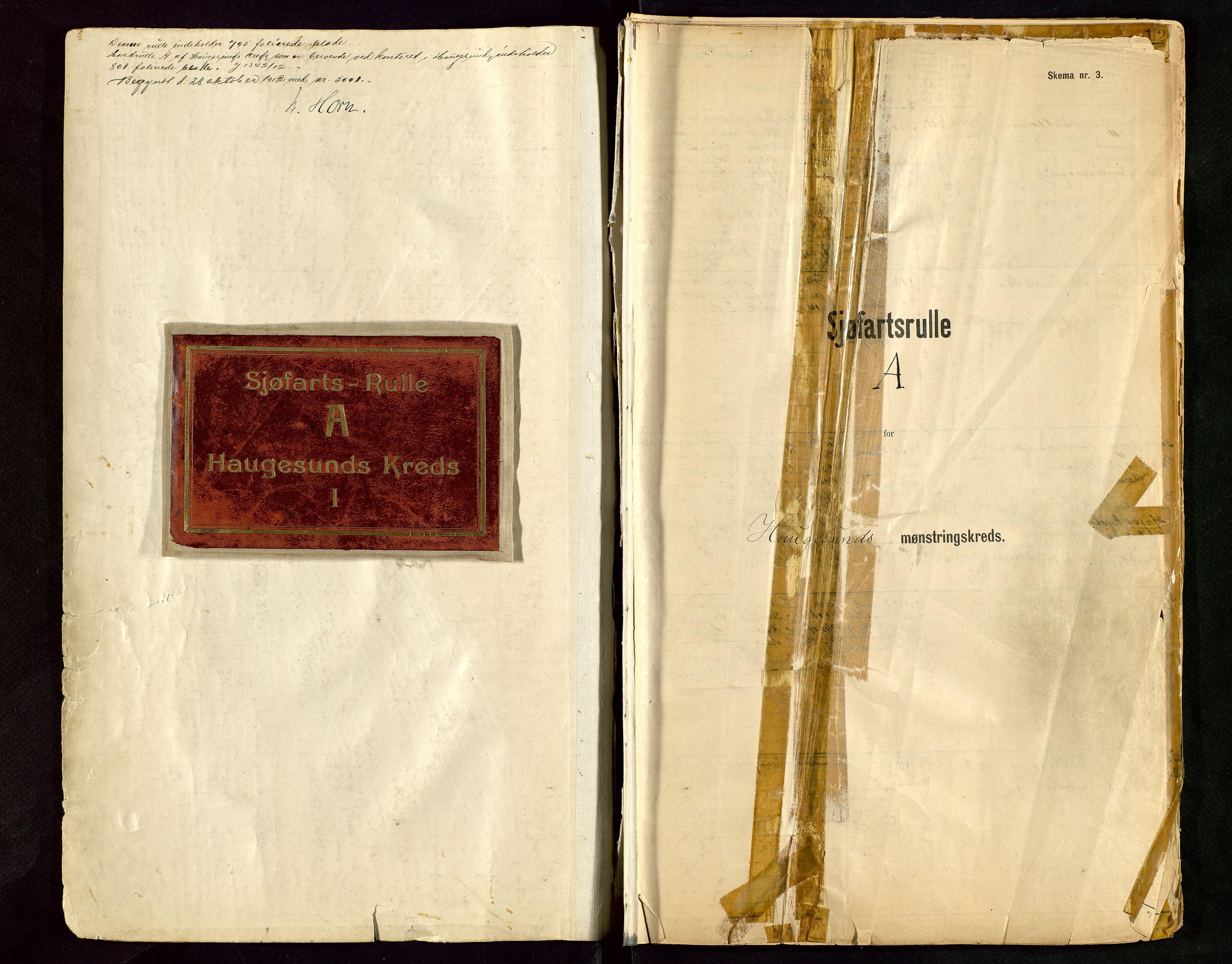 SAST, Haugesund sjømannskontor, F/Fb/Fbb/L0015: Sjøfartsrulle A Haugesund krets I nr 5001-8970, 1912-1948