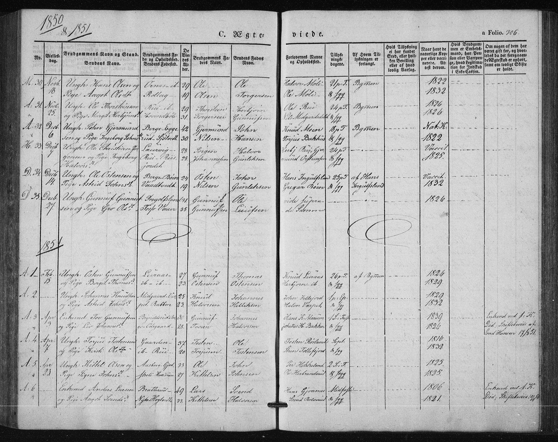 SAKO, Tinn kirkebøker, F/Fa/L0005: Parish register (official) no. I 5, 1844-1856, p. 306
