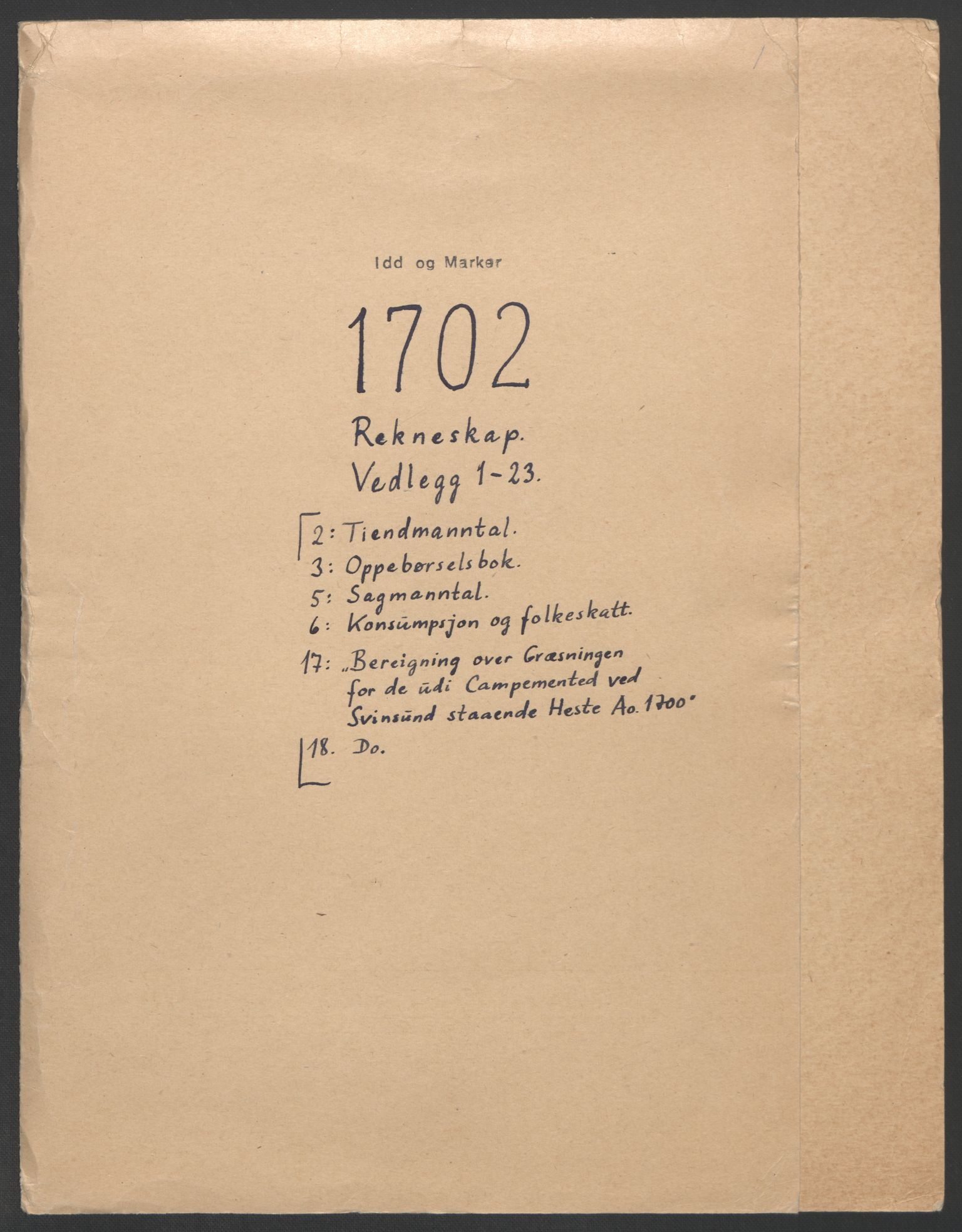 RA, Rentekammeret inntil 1814, Reviderte regnskaper, Fogderegnskap, R01/L0016: Fogderegnskap Idd og Marker, 1702-1703, p. 2