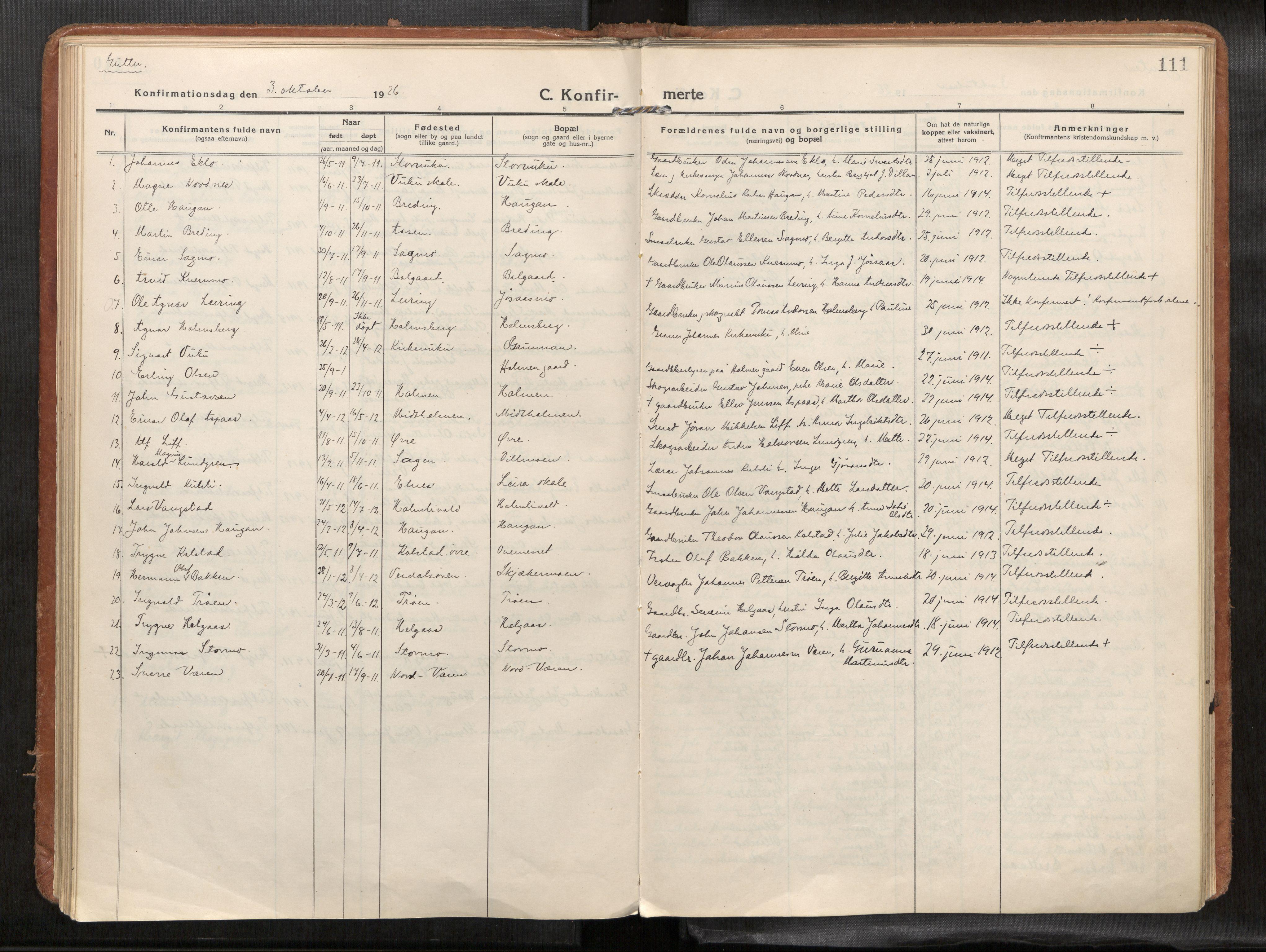 SAT, Verdal sokneprestkontor*, Parish register (official) no. 1, 1916-1928, p. 111