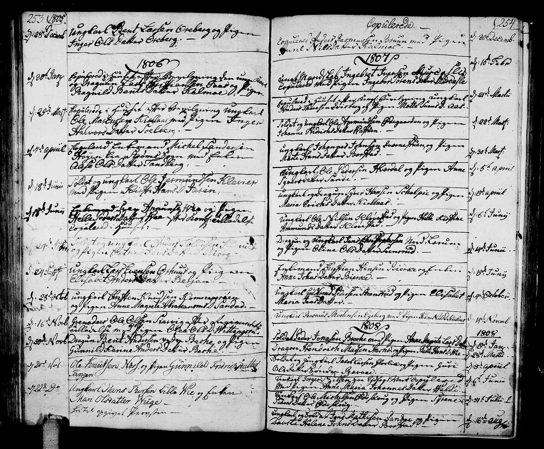 SAKO, Sande Kirkebøker, F/Fa/L0002: Parish register (official) no. 2, 1804-1814, p. 253-254