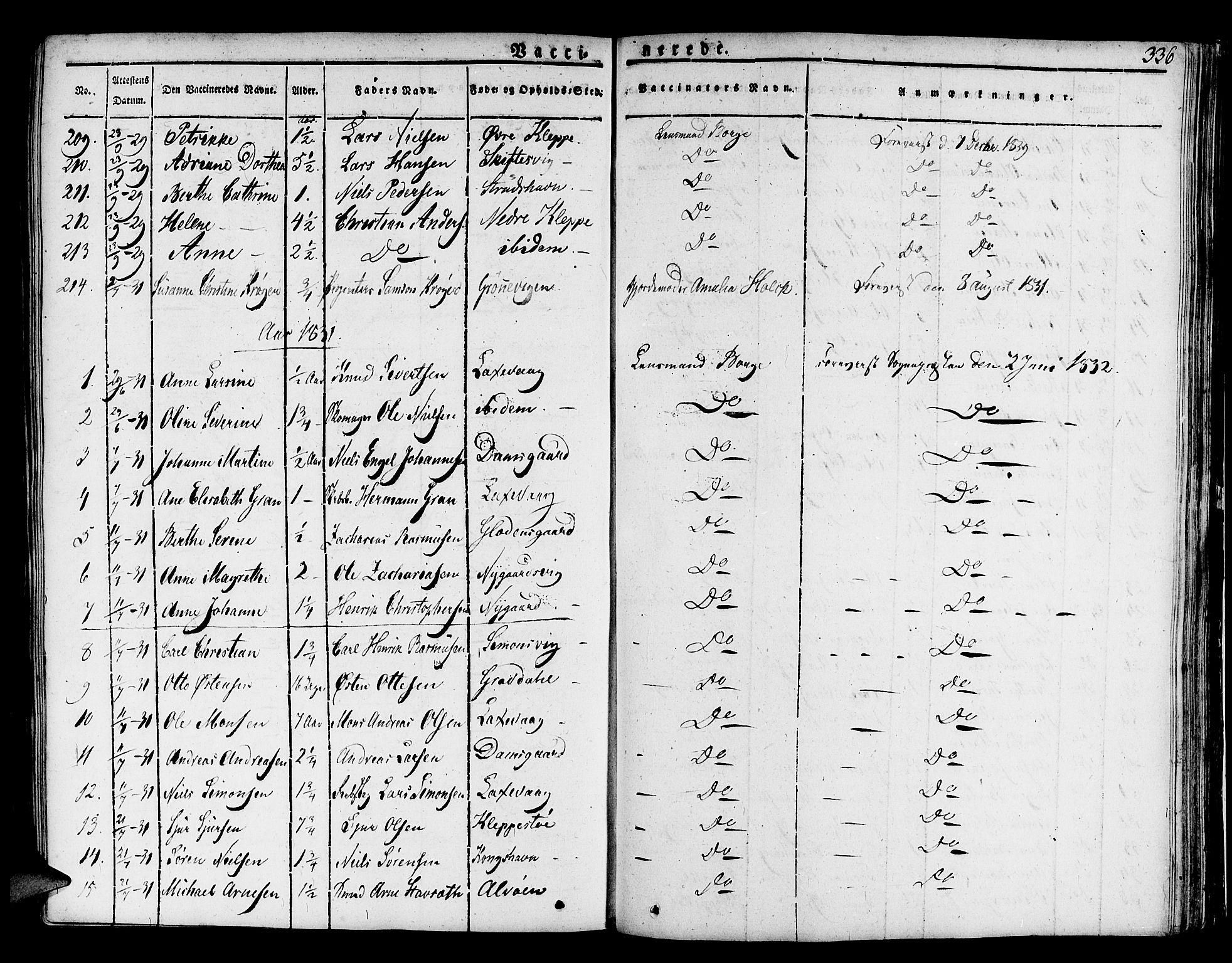 SAB, Askøy Sokneprestembete, H/Ha/Haa/Haaa/L0004: Parish register (official) no. A 4, 1825-1845, p. 336