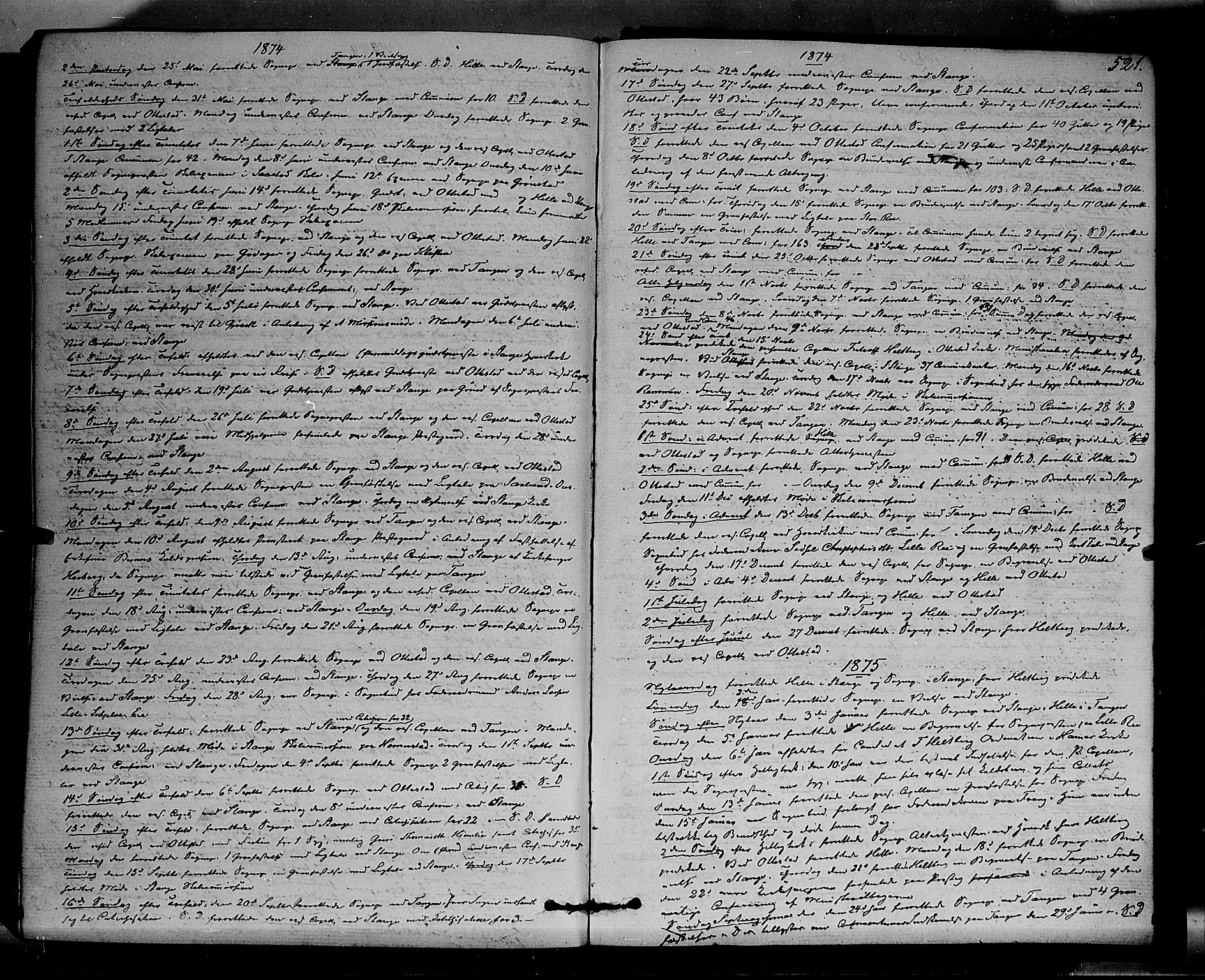 SAH, Stange prestekontor, K/L0013: Parish register (official) no. 13, 1862-1879, p. 521