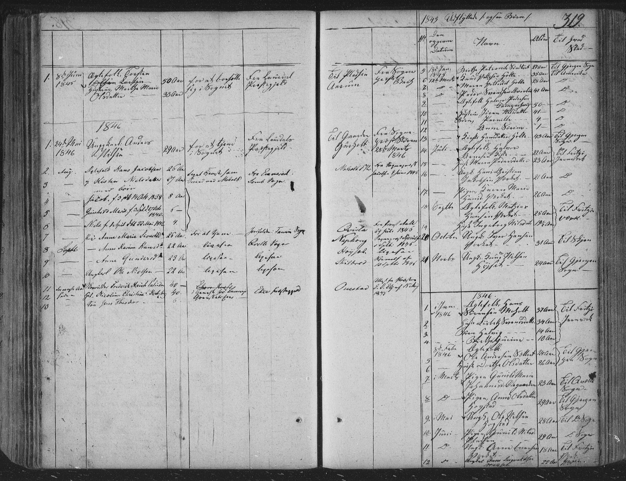 SAKO, Siljan kirkebøker, F/Fa/L0001: Parish register (official) no. 1, 1831-1870, p. 319