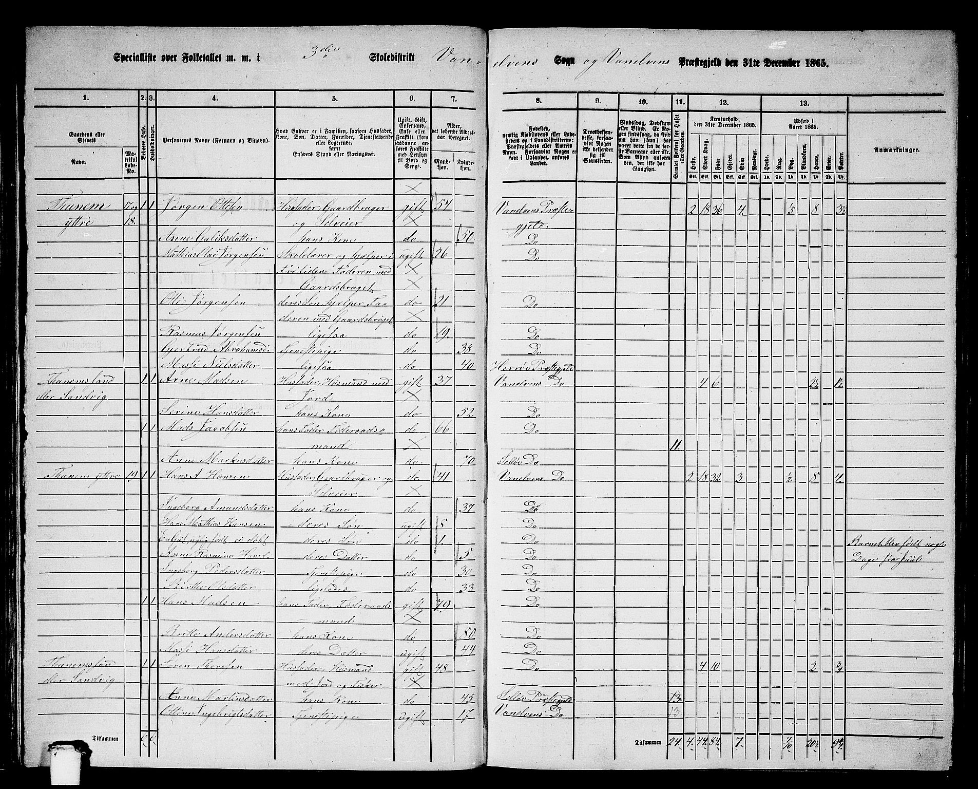 RA, 1865 census for Vanylven, 1865, p. 46