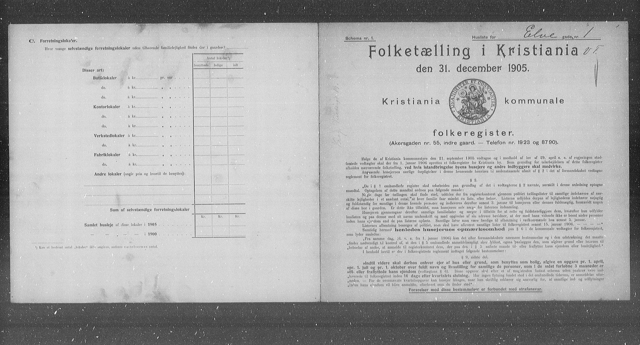 OBA, Municipal Census 1905 for Kristiania, 1905, p. 10500