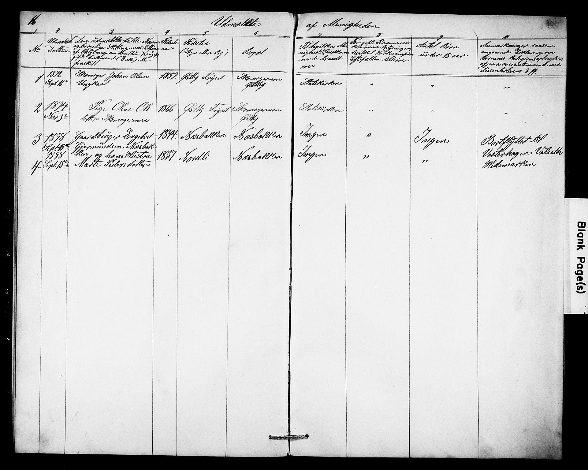 SAH, Misjonsforbundet, 01/L0003: Dissenter register no. 3, 1892-1920, p. 16
