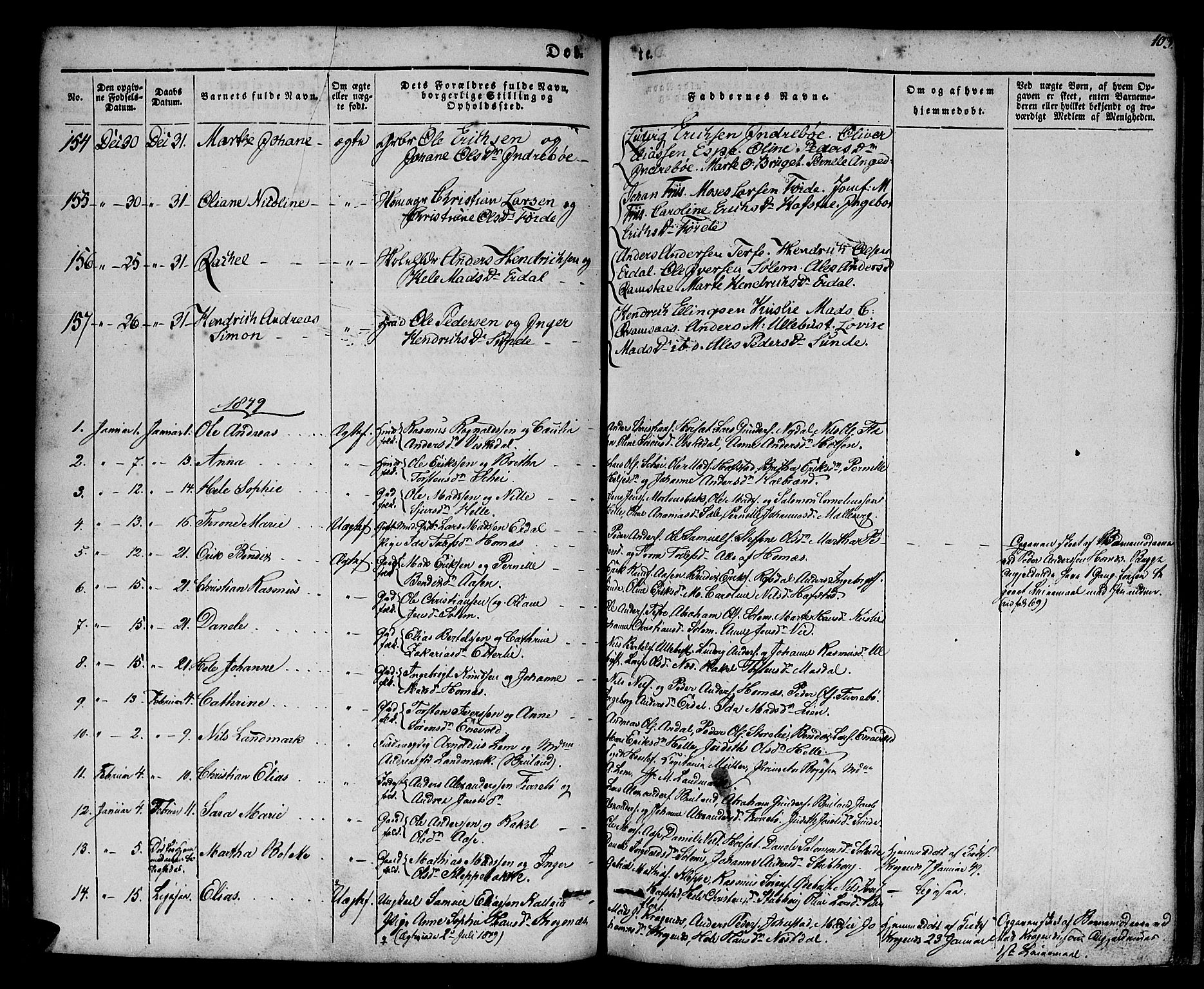 SAB, Førde sokneprestembete, H/Haa: Parish register (official) no. A 7, 1843-1860, p. 103