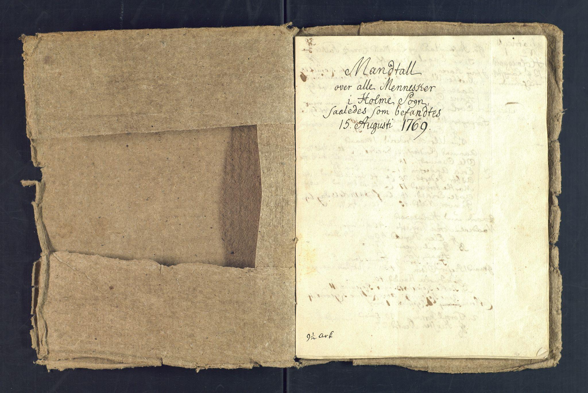 SAK, Holum sokneprestkontor, Andre øvrighetsfunksjoner, no. 5: Census for Holum local parish 1769, 1769-1771, p. 2