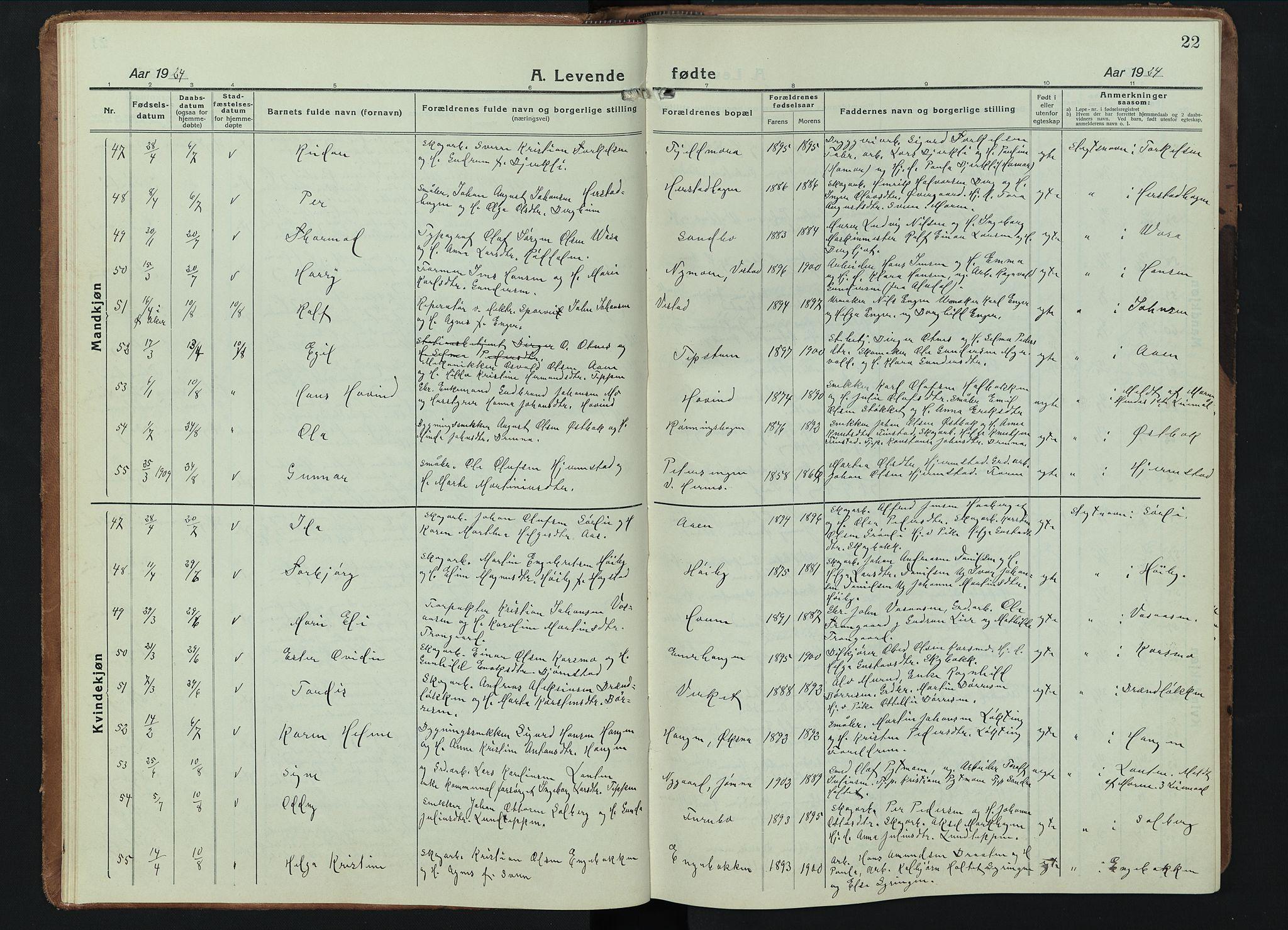 SAH, Elverum prestekontor, H/Ha/Hab/L0015#: Parish register (copy) no. 15, 1922-1945, p. 22