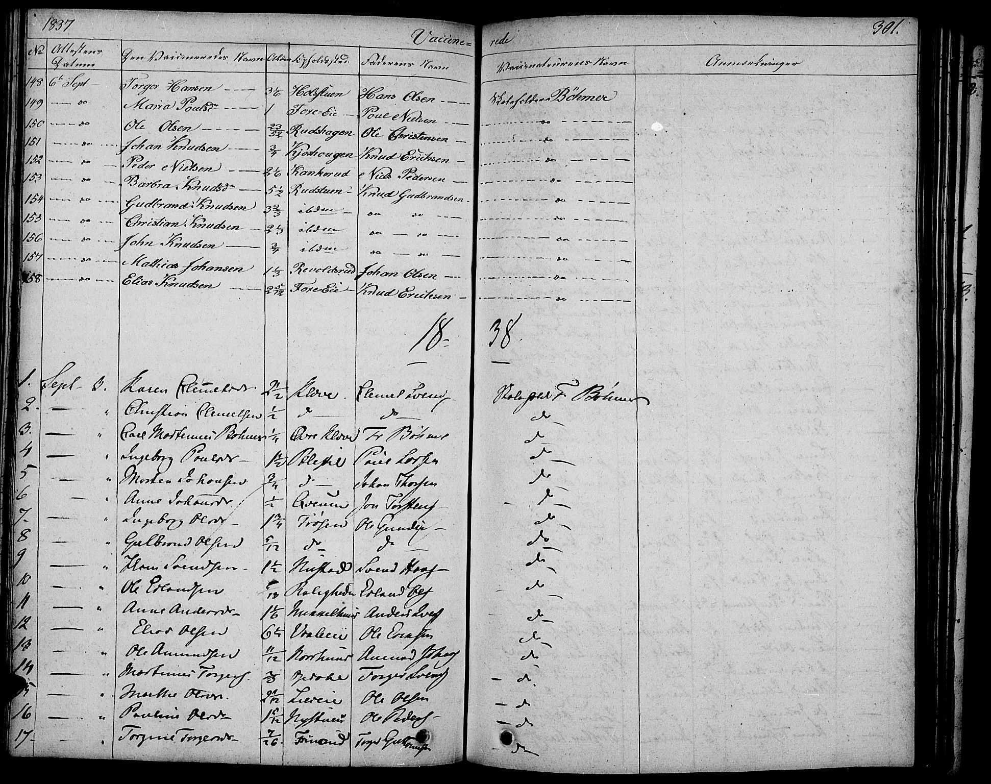 SAH, Gausdal prestekontor, Parish register (official) no. 6, 1830-1839, p. 301
