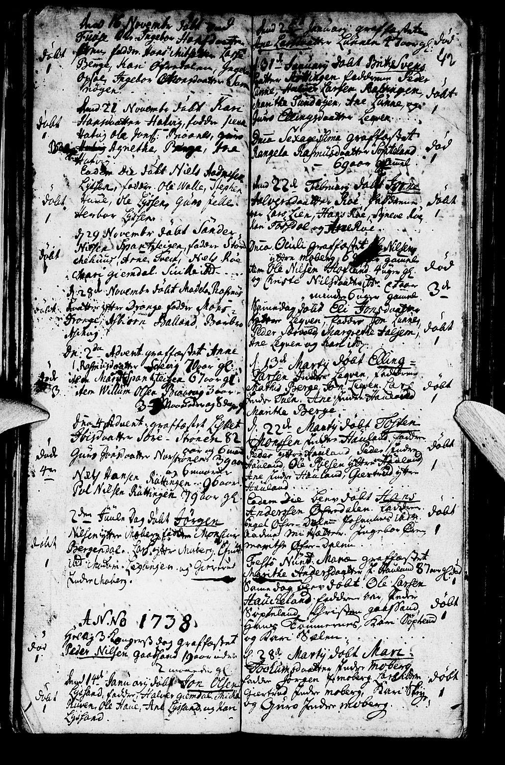 SAB, Os sokneprestembete*, Parish register (official) no. A 2, 1723-1758, p. 42
