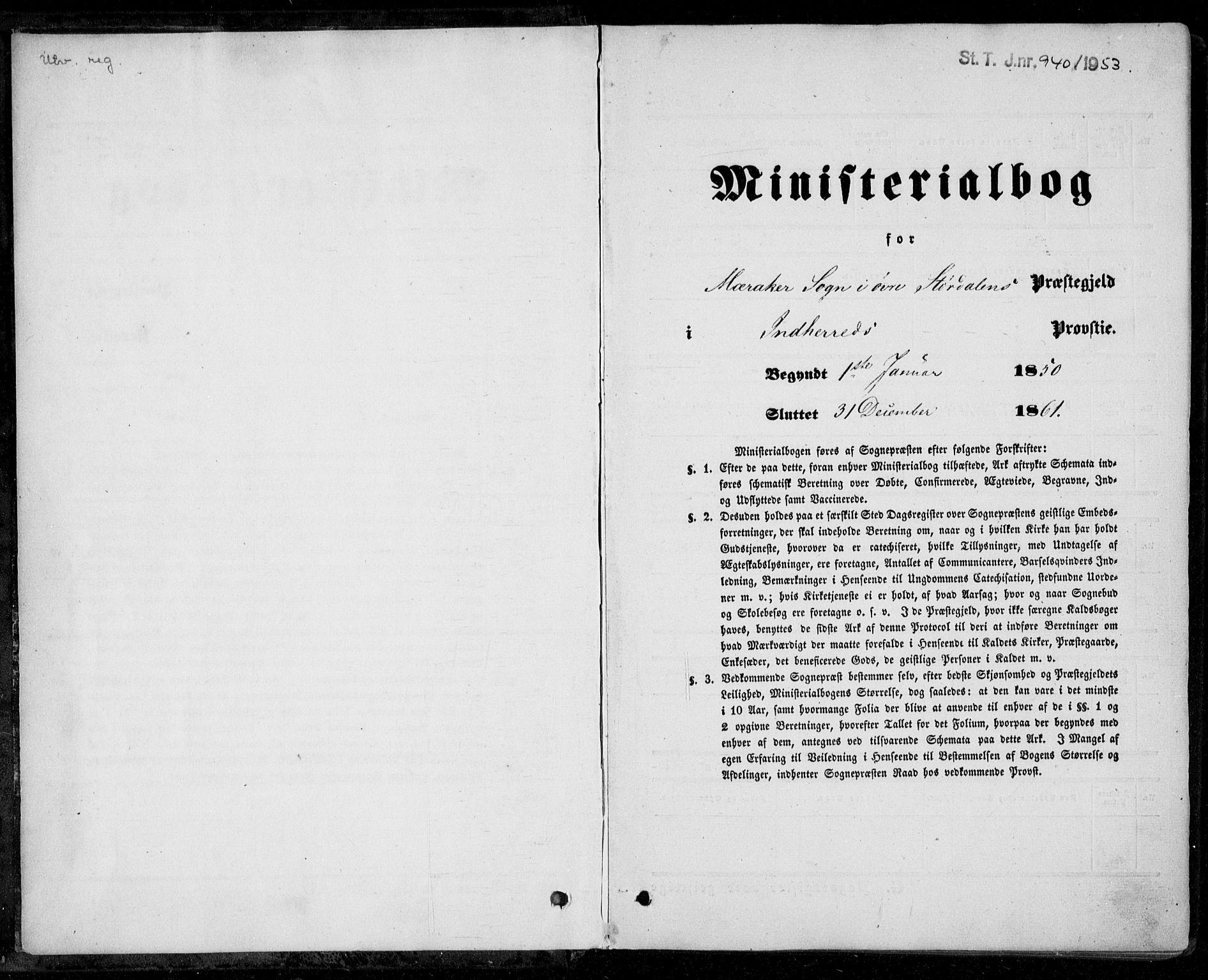SAT, Ministerialprotokoller, klokkerbøker og fødselsregistre - Nord-Trøndelag, 706/L0040: Parish register (official) no. 706A01, 1850-1861