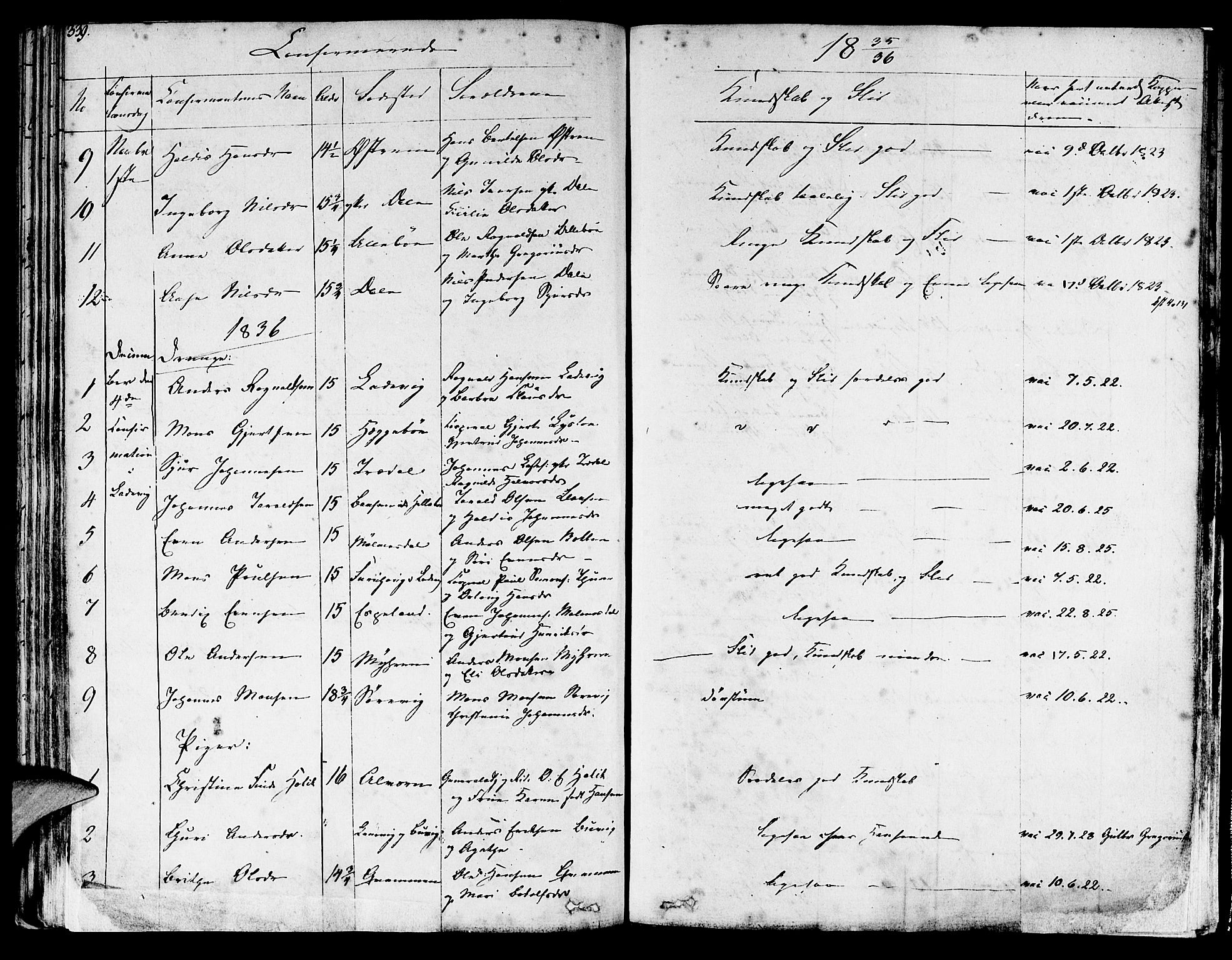 SAB, Lavik sokneprestembete, Parish register (official) no. A 2I, 1821-1842, p. 339