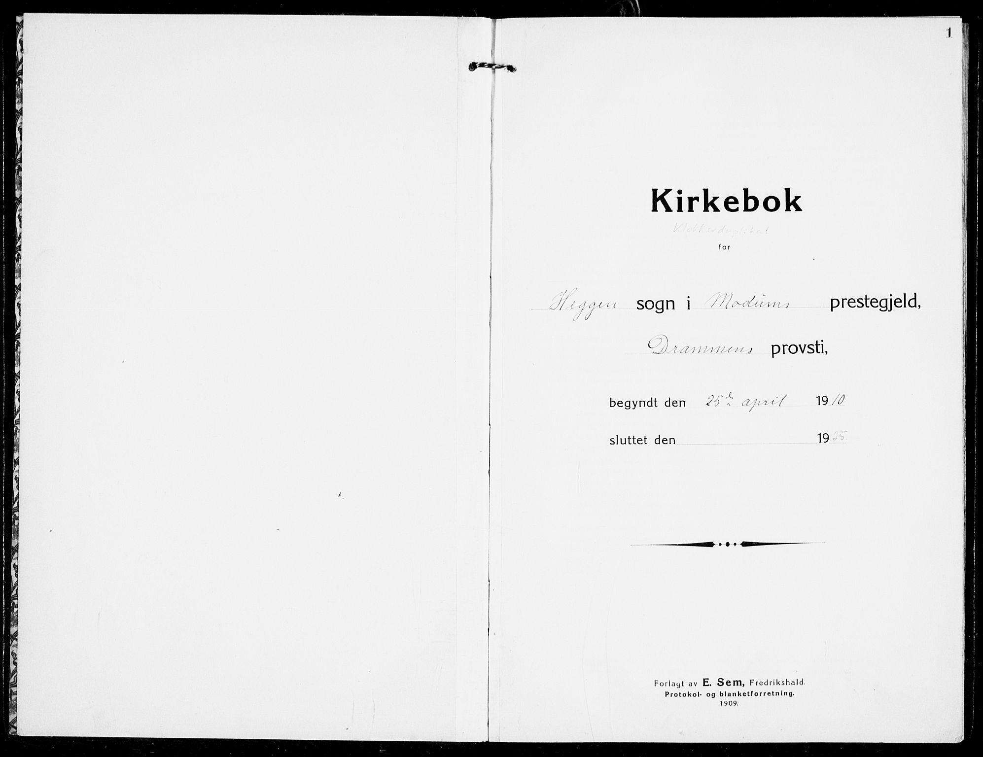 SAKO, Modum kirkebøker, G/Ga/L0011: Parish register (copy) no. I 11, 1910-1925