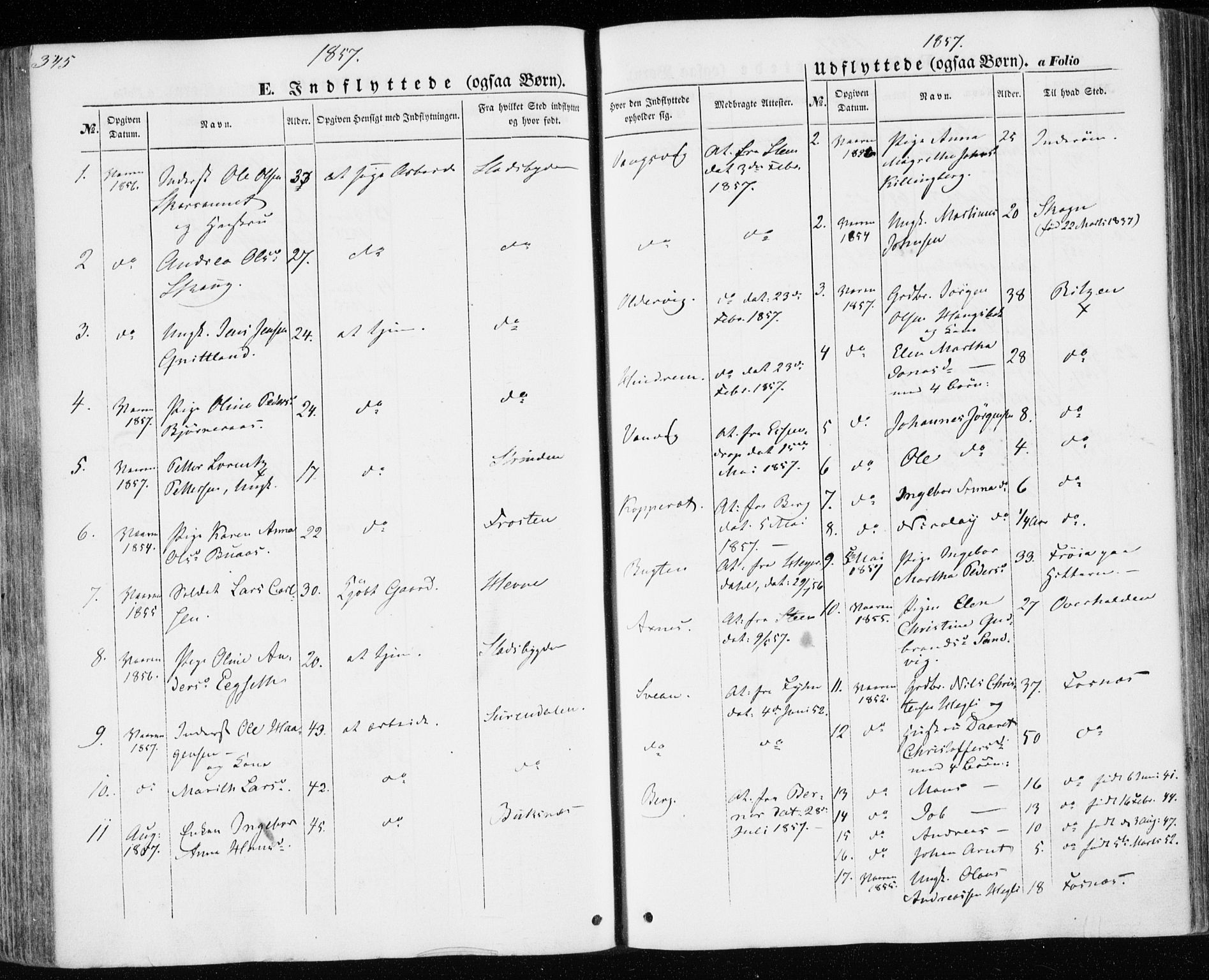 SAT, Ministerialprotokoller, klokkerbøker og fødselsregistre - Nord-Trøndelag, 701/L0008: Parish register (official) no. 701A08 /1, 1854-1863, p. 345