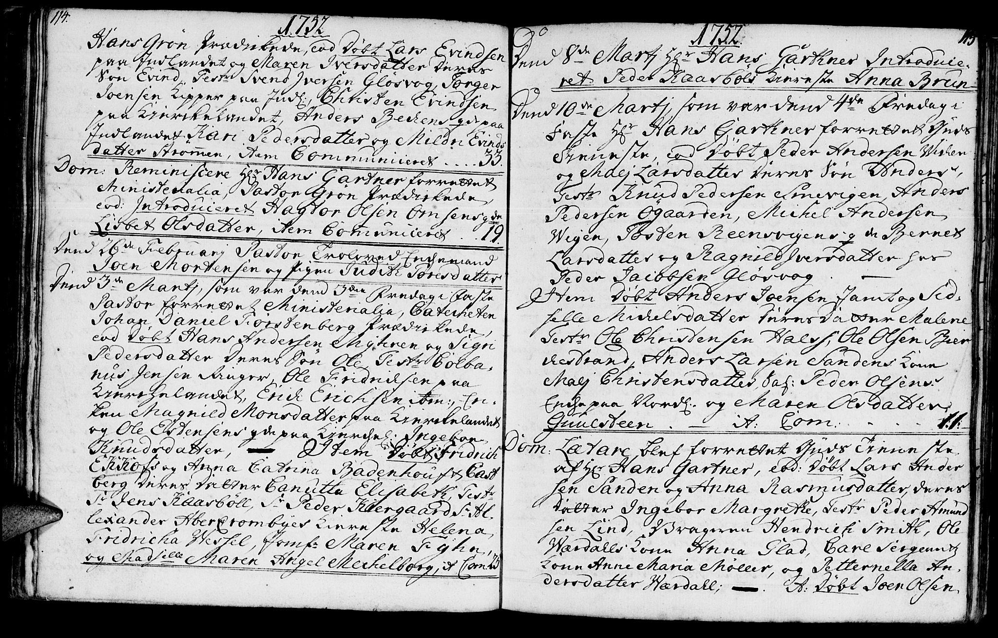 SAT, Ministerialprotokoller, klokkerbøker og fødselsregistre - Møre og Romsdal, 572/L0839: Parish register (official) no. 572A02, 1739-1754, p. 114-115