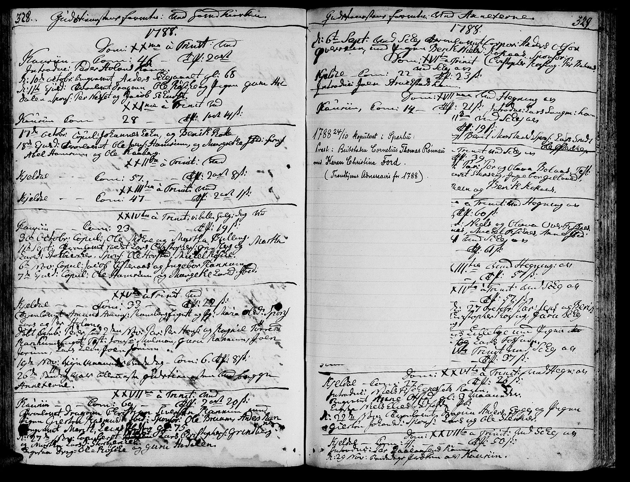 SAT, Ministerialprotokoller, klokkerbøker og fødselsregistre - Nord-Trøndelag, 735/L0331: Parish register (official) no. 735A02, 1762-1794, p. 328-329