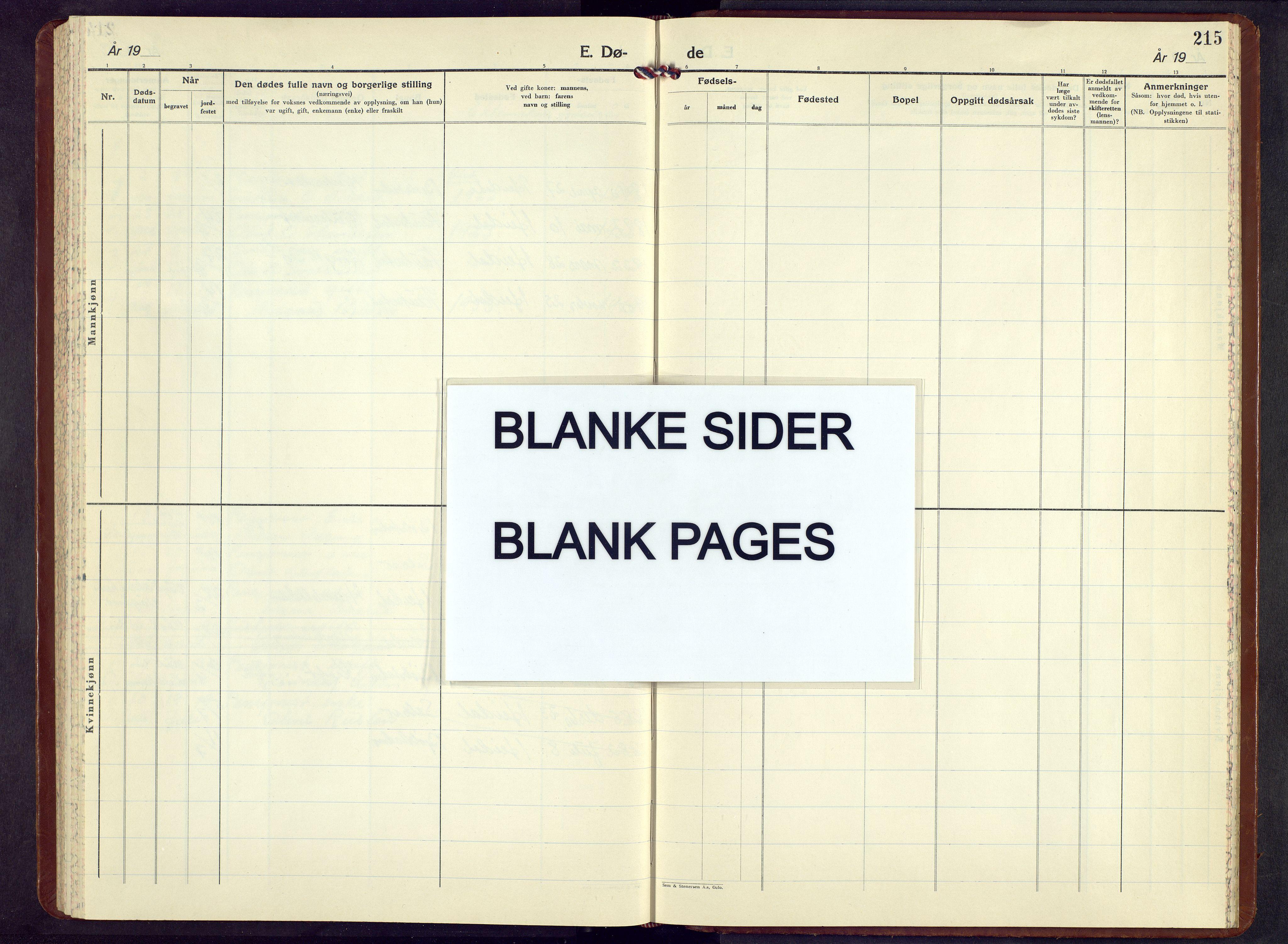 SAH, Sel prestekontor, Parish register (copy) no. 7, 1953-1973, p. 215