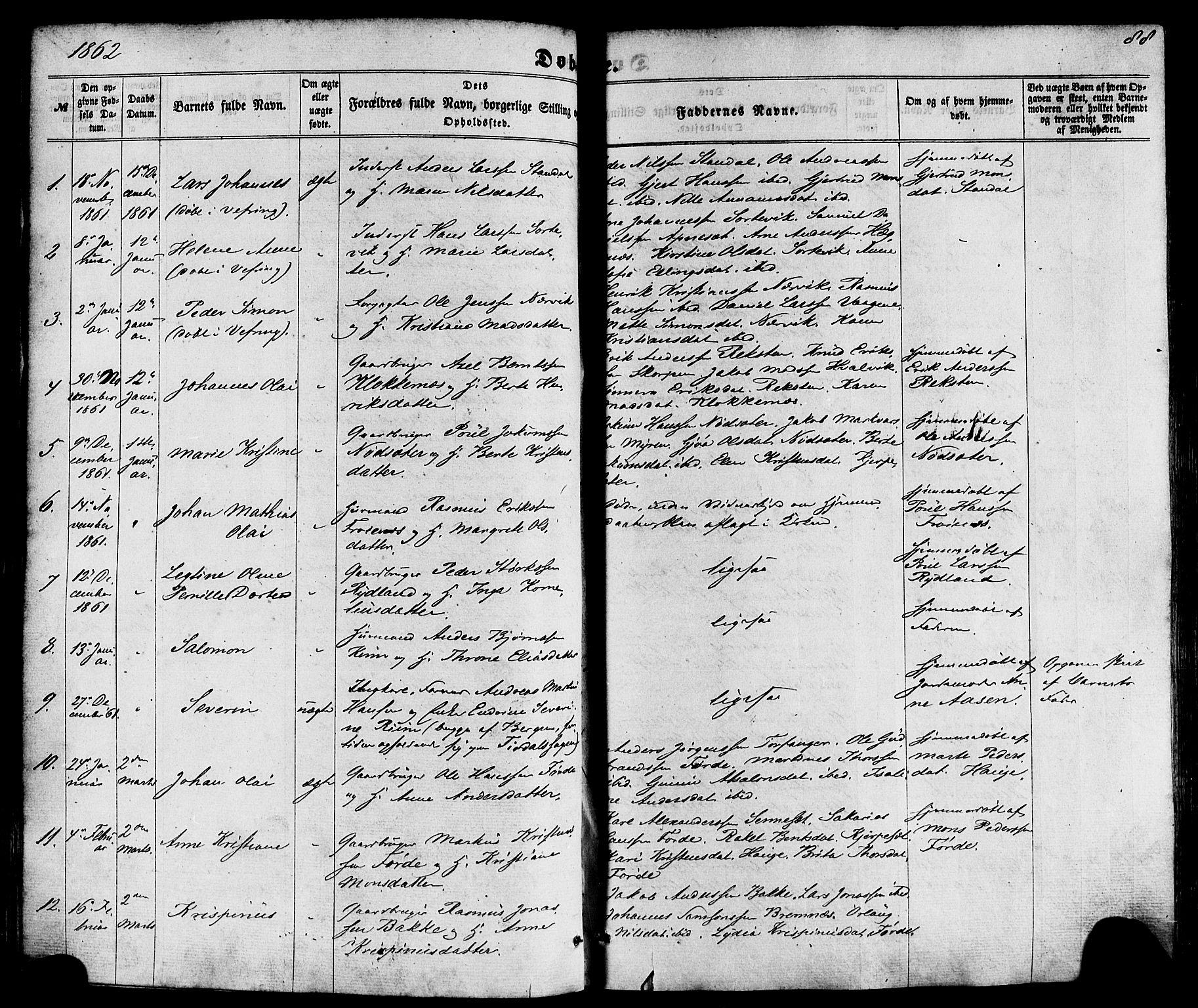 SAB, Kinn sokneprestembete, H/Haa/Haaa/L0006: Parish register (official) no. A 6, 1857-1885, p. 88