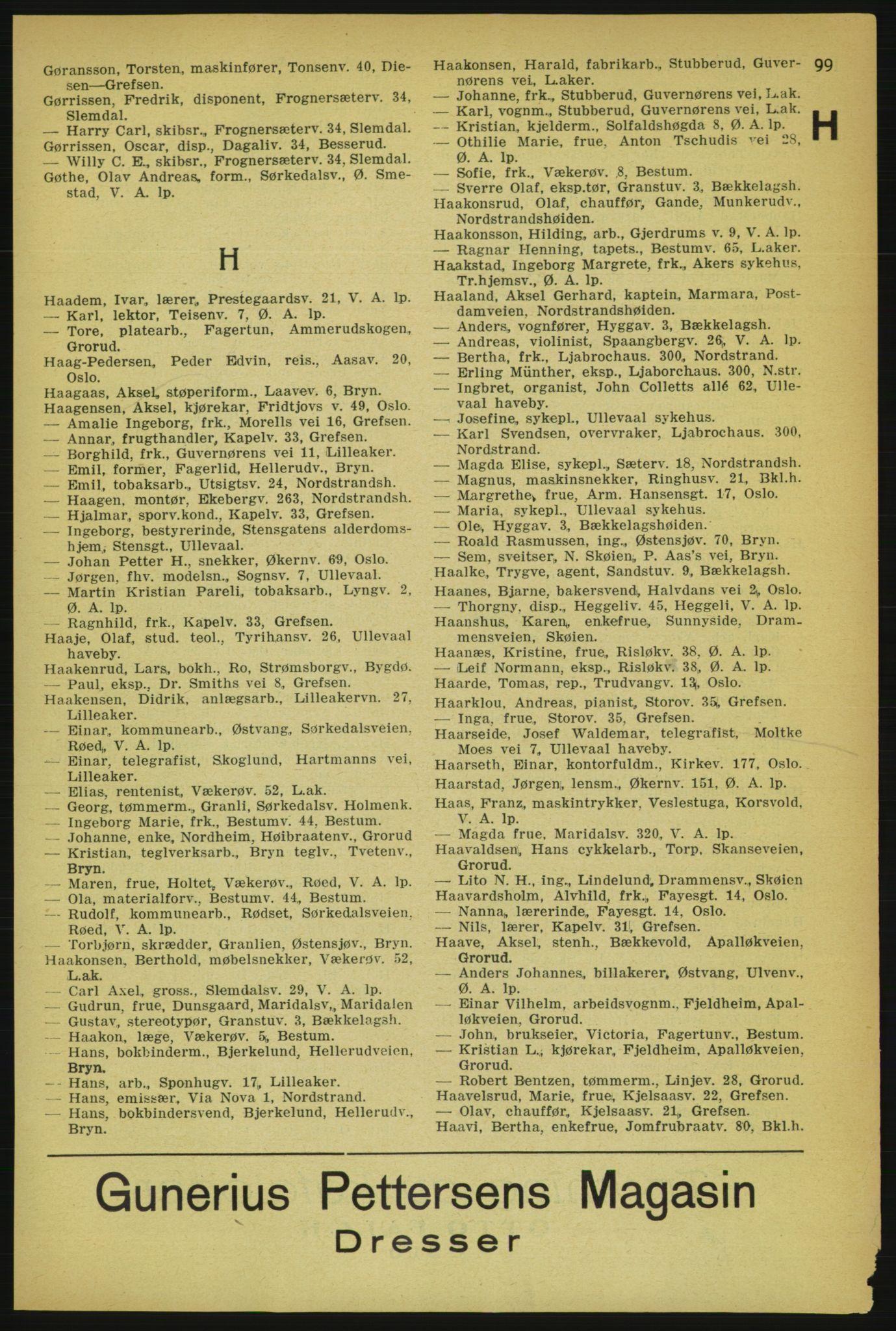 RA, Aker adressebok/adressekalender (publikasjon)*, 1929, p. 99