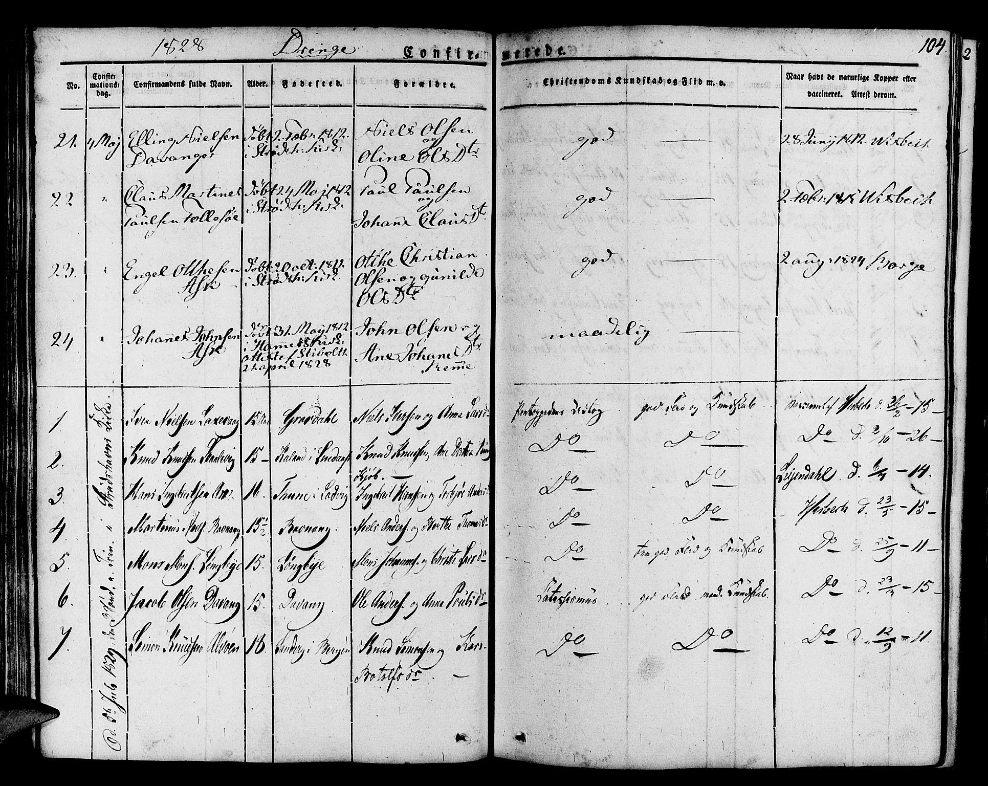 SAB, Askøy Sokneprestembete, H/Ha/Haa/Haaa/L0004: Parish register (official) no. A 4, 1825-1845, p. 104