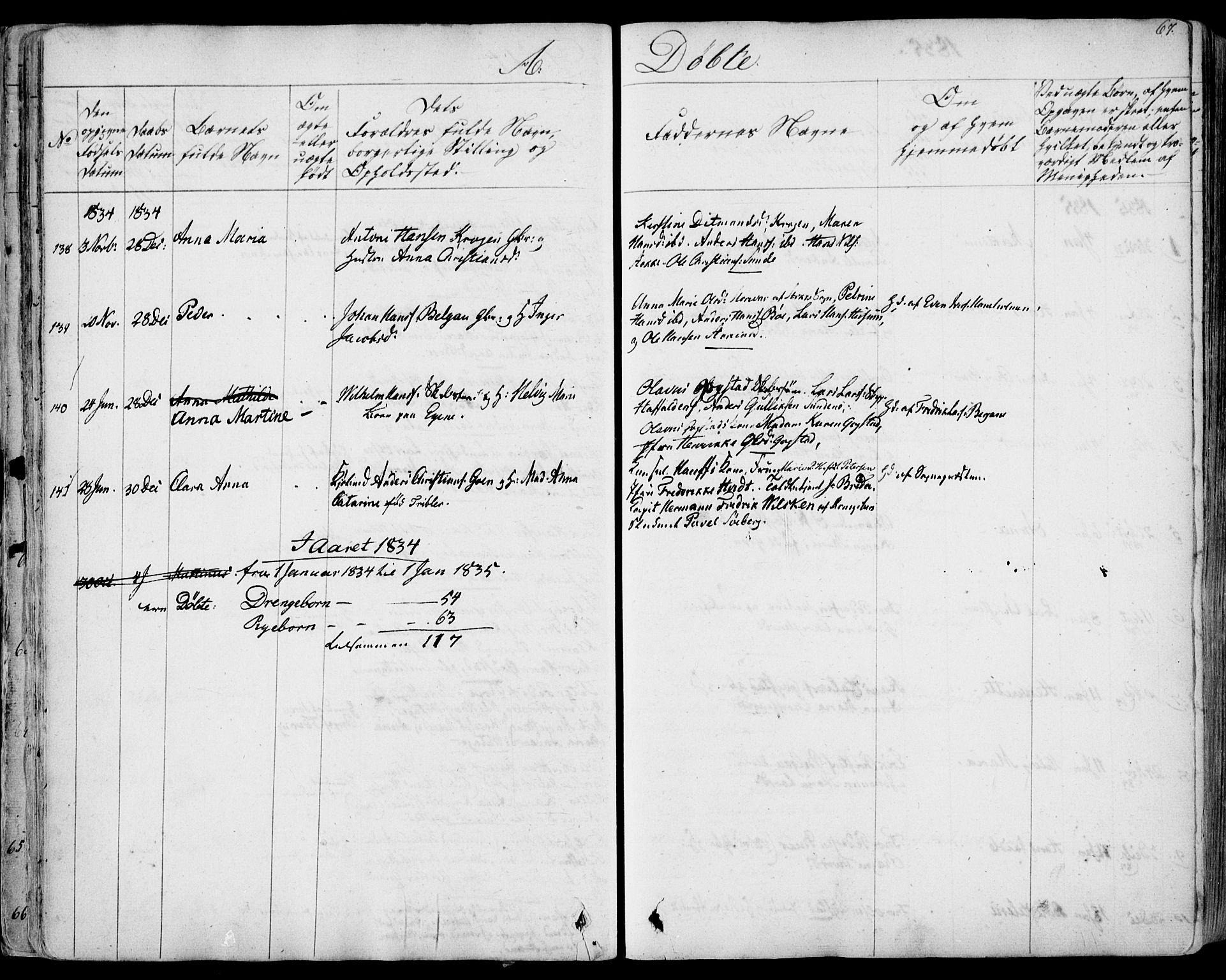 SAKO, Sandar kirkebøker, F/Fa/L0005: Parish register (official) no. 5, 1832-1847, p. 66-67