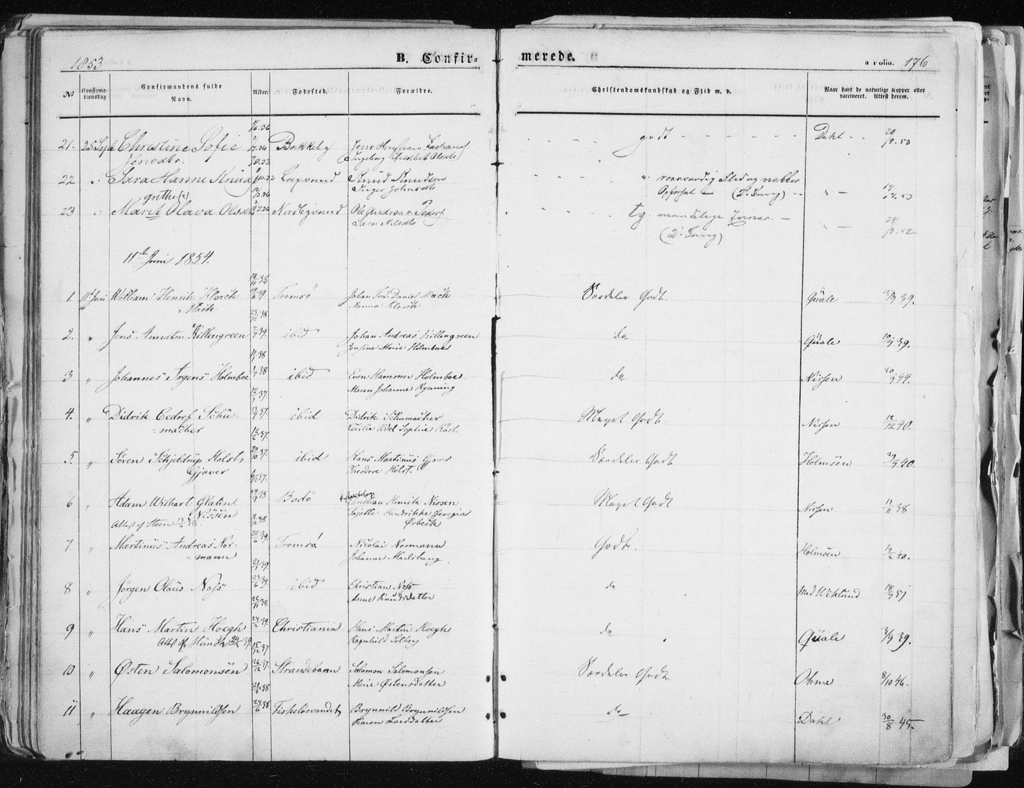 SATØ, Tromsø sokneprestkontor/stiftsprosti/domprosti, G/Ga/L0010kirke: Parish register (official) no. 10, 1848-1855, p. 176