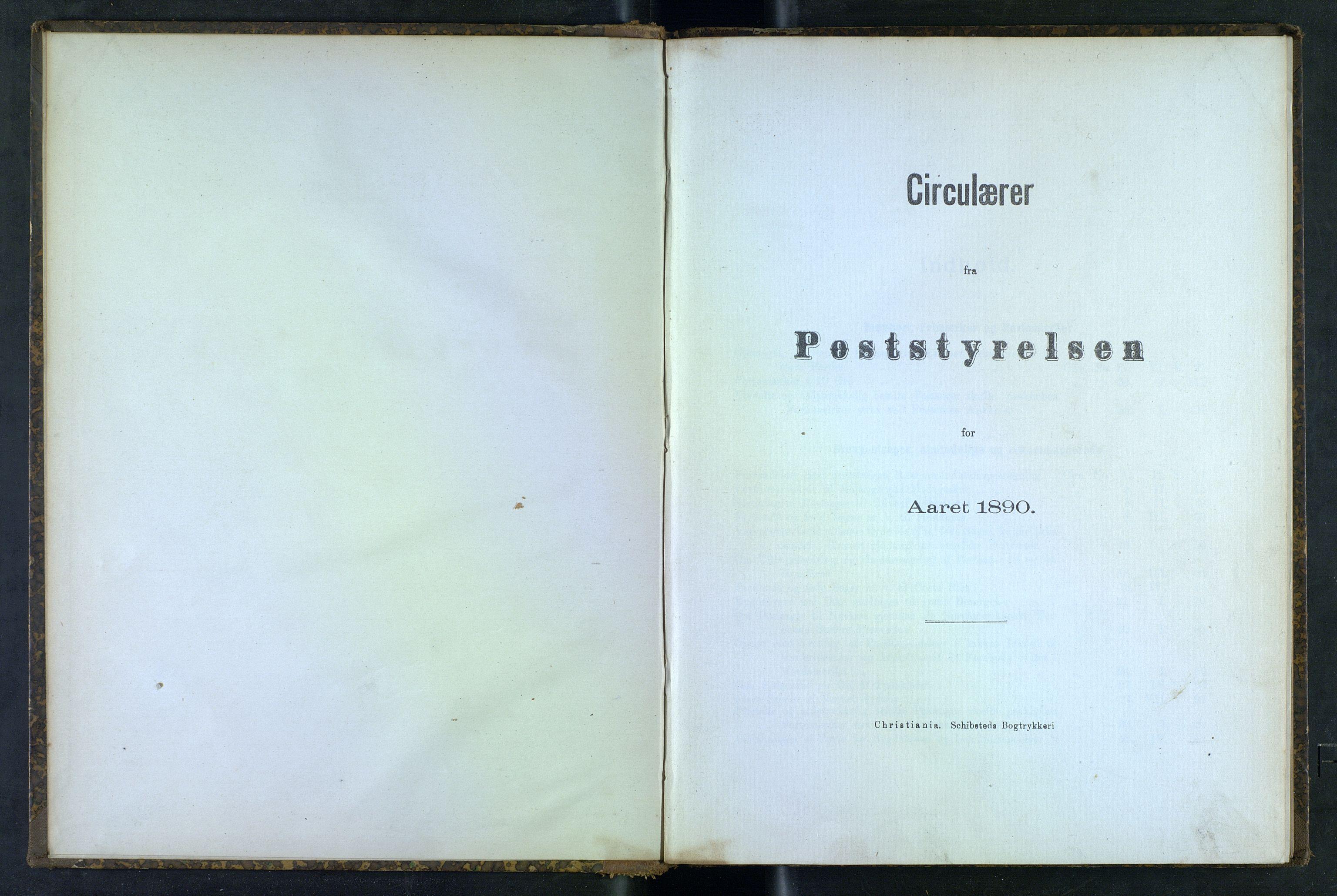 NOPO, Norges Postmuseums bibliotek, -/-: Sirkulærer fra Poststyrelsen, 1890