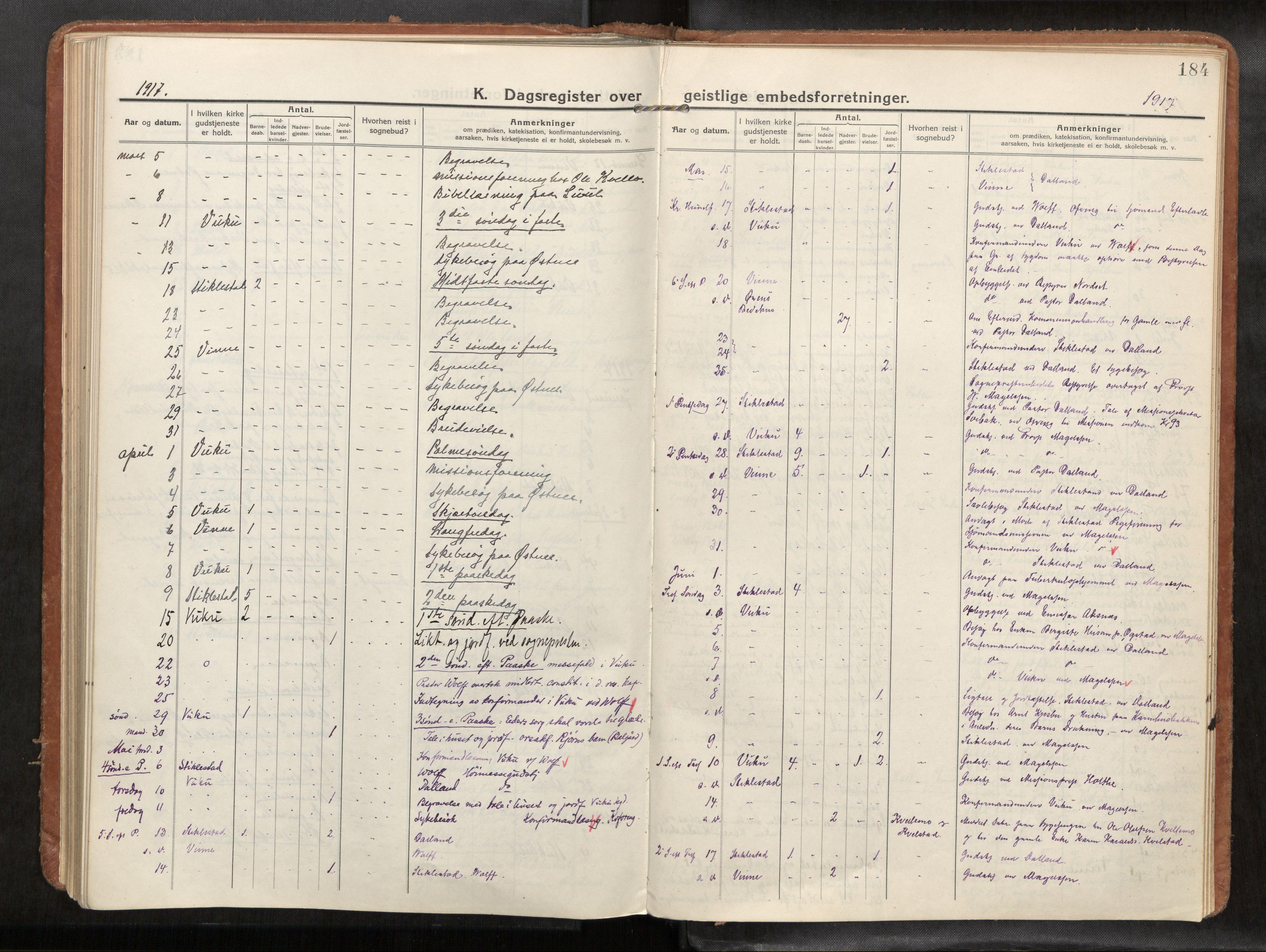 SAT, Verdal sokneprestkontor*, Parish register (official) no. 1, 1916-1928, p. 184