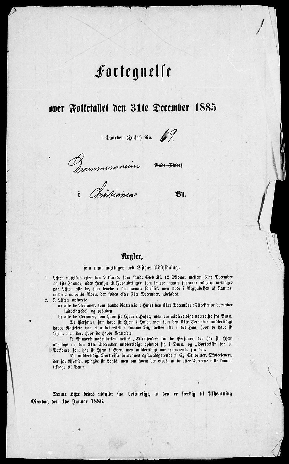 RA, 1885 census for 0301 Kristiania, 1885, p. 3588