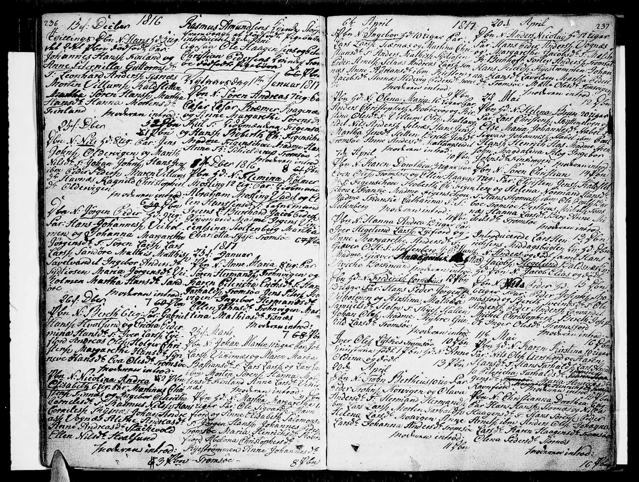 SATØ, Tromsø sokneprestkontor/stiftsprosti/domprosti, G/Ga/L0006kirke: Parish register (official) no. 6, 1806-1821, p. 236-237