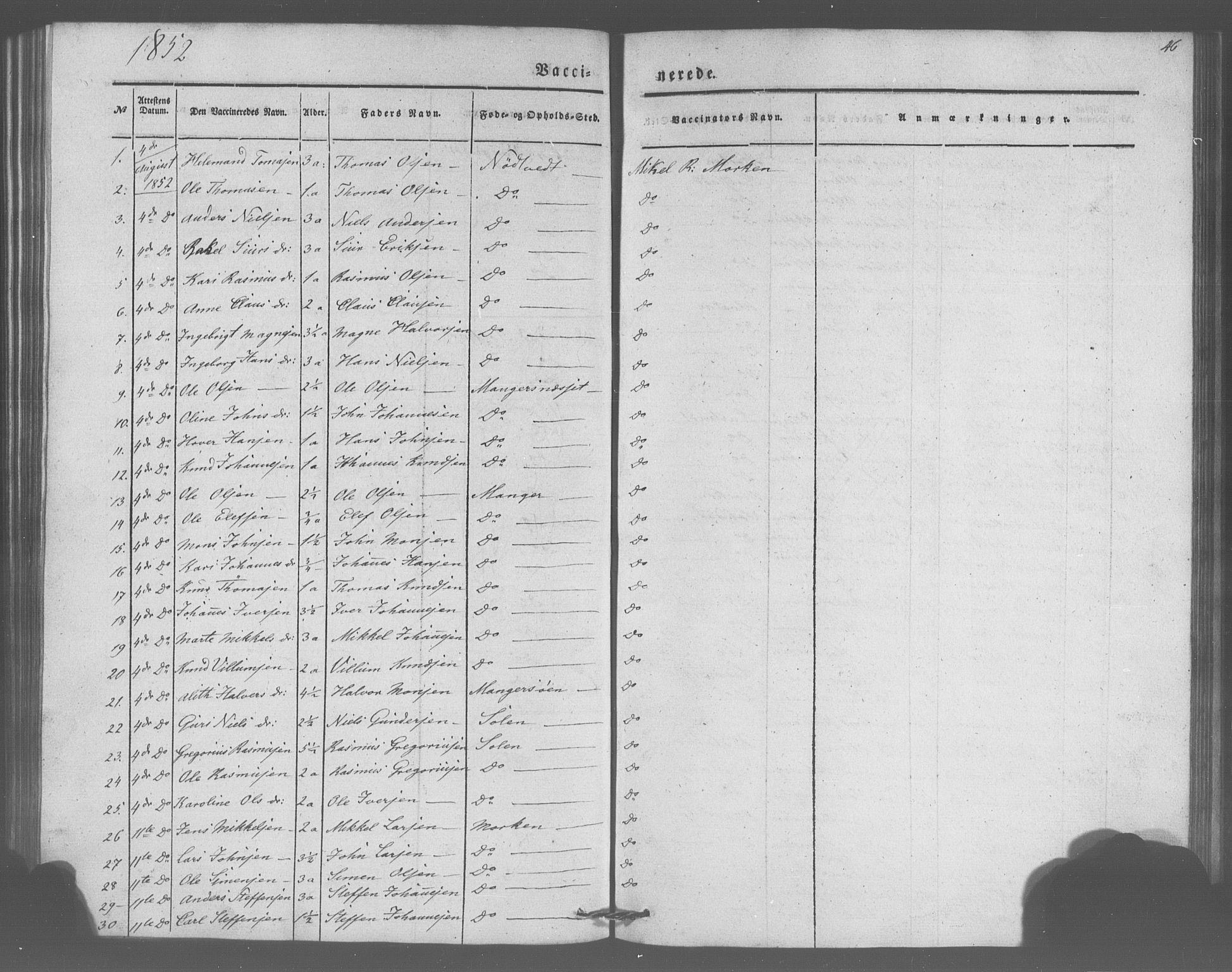 SAB, Manger sokneprestembete, H/Haa: Parish register (official) no. A 10, 1844-1859, p. 46