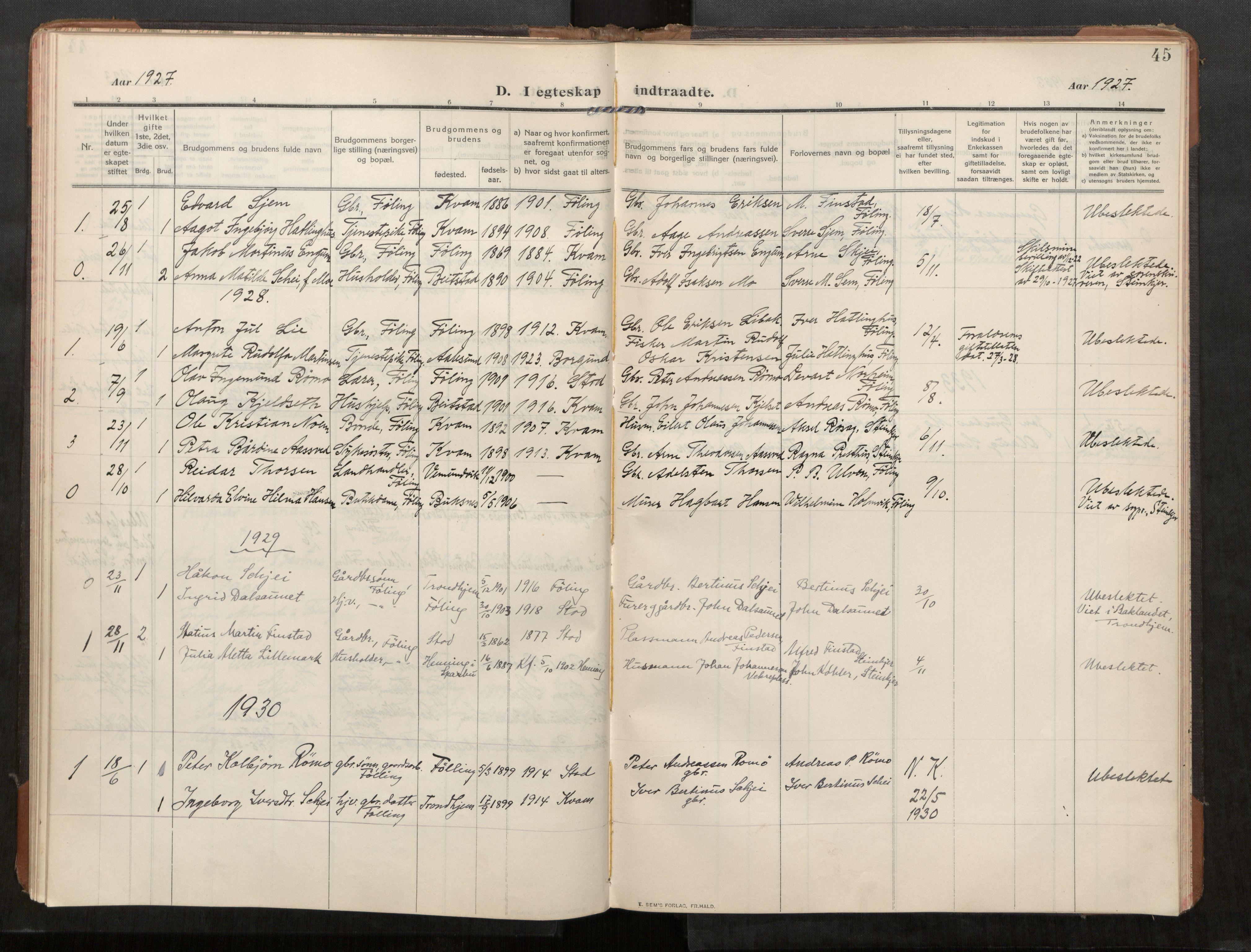 SAT, Stod sokneprestkontor, I/I1/I1a/L0003: Parish register (official) no. 3, 1909-1934, p. 45