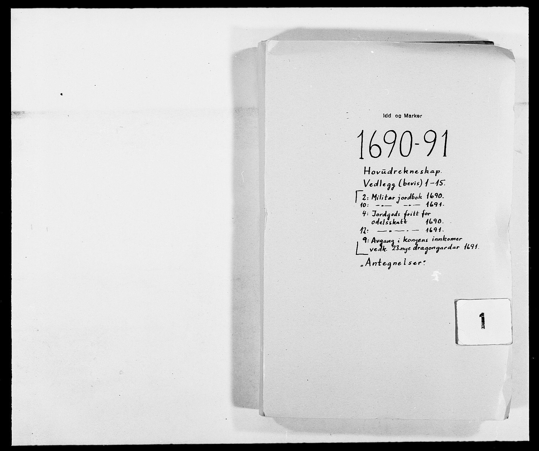 RA, Rentekammeret inntil 1814, Reviderte regnskaper, Fogderegnskap, R01/L0010: Fogderegnskap Idd og Marker, 1690-1691, p. 1