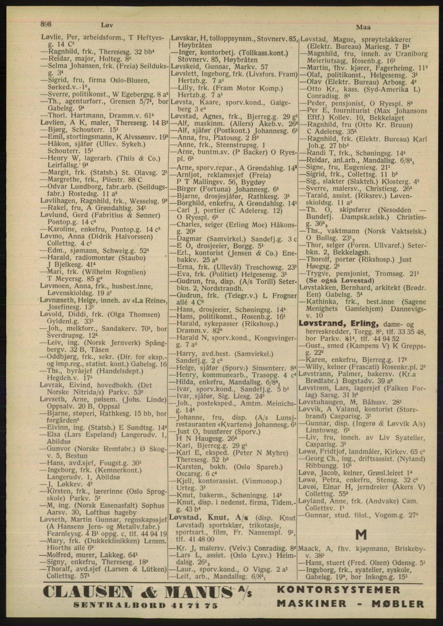 PUBL, Kristiania/Oslo adressebok, 1948, p. 898