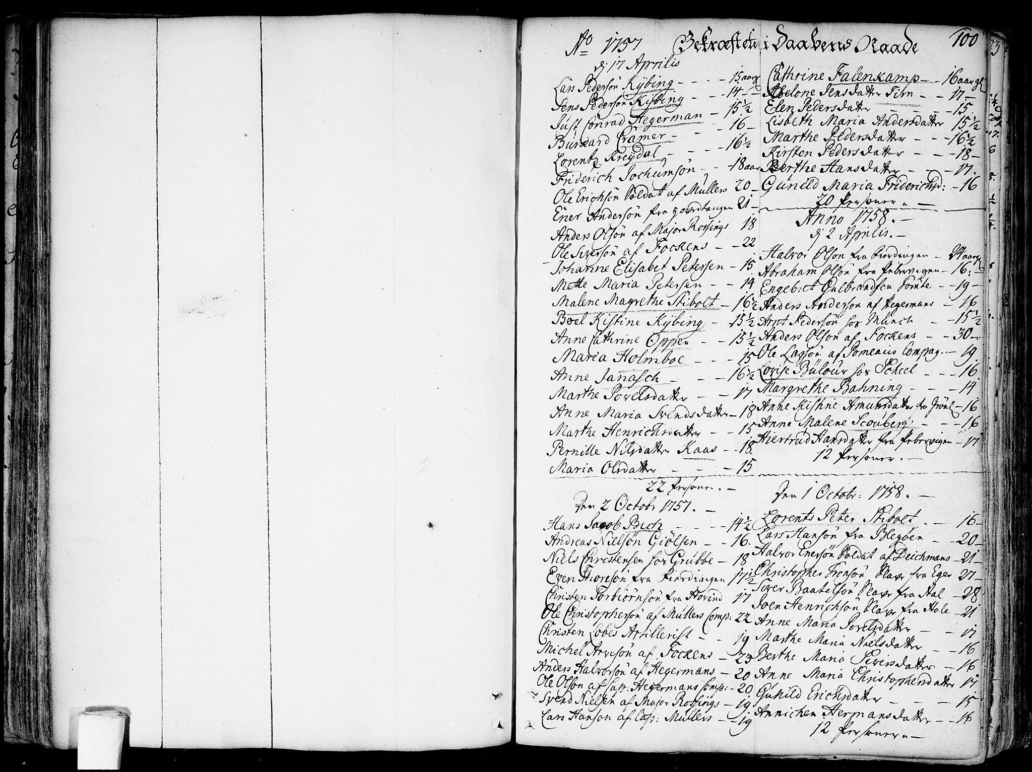 SAO, Garnisonsmenigheten Kirkebøker, F/Fa/L0002: Parish register (official) no. 2, 1757-1776, p. 100