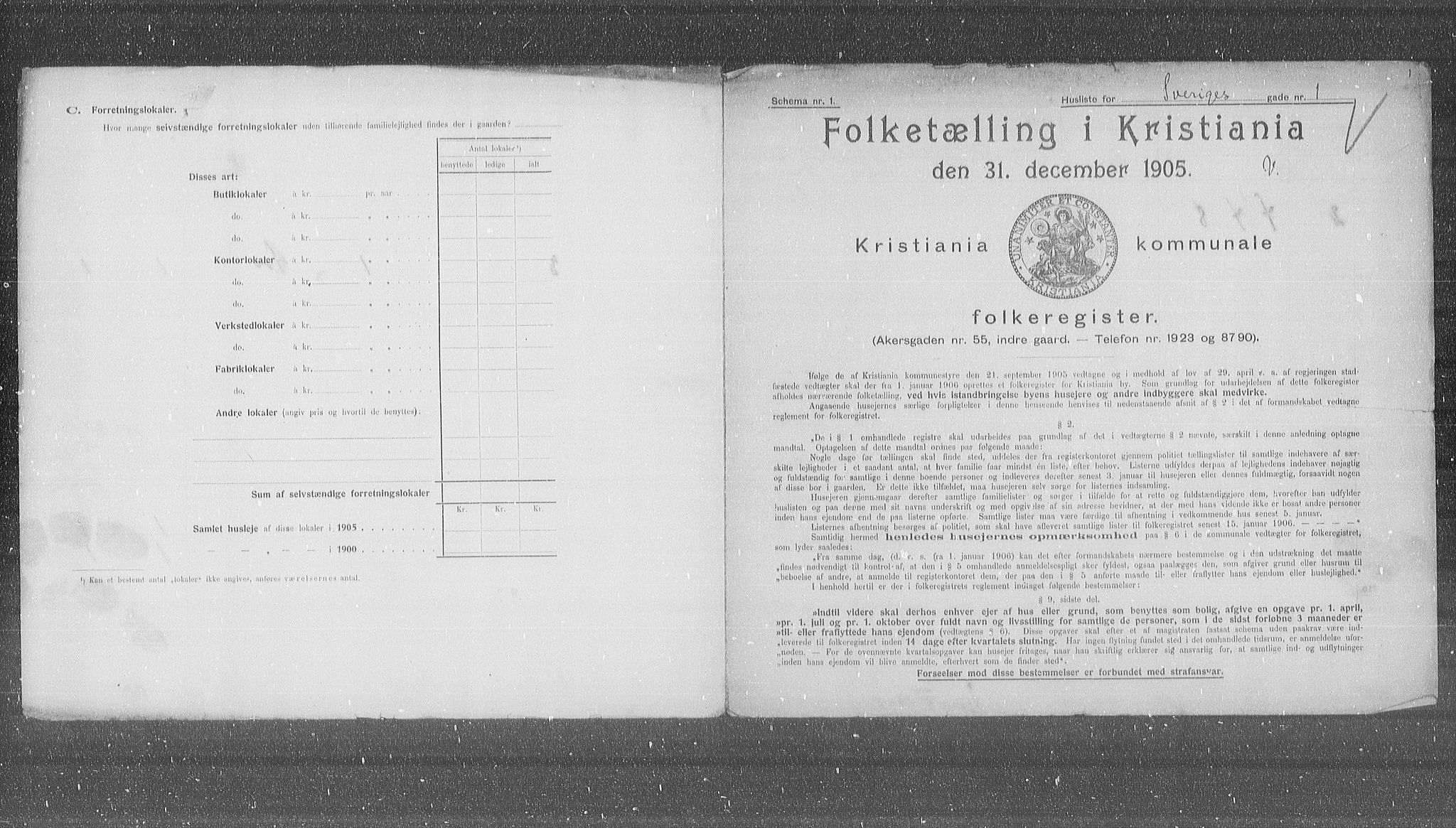 OBA, Municipal Census 1905 for Kristiania, 1905, p. 55268