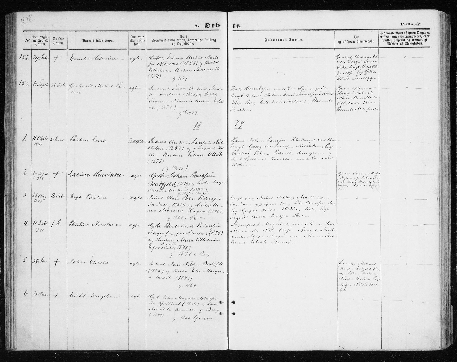 SATØ, Tromsøysund sokneprestkontor, G/Ga/L0003kirke: Parish register (official) no. 3, 1875-1880, p. 68