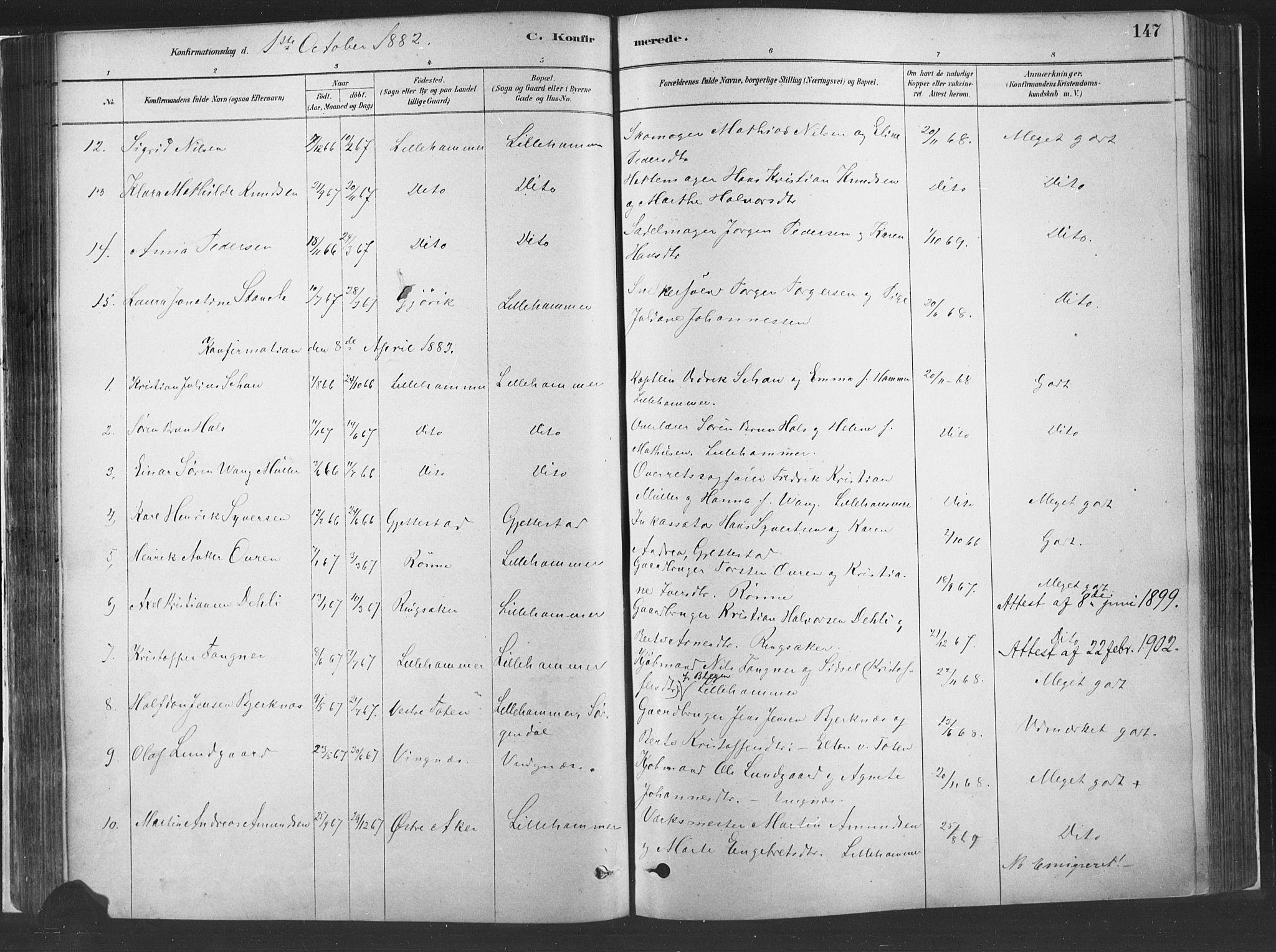 SAH, Fåberg prestekontor, H/Ha/Haa/L0010: Parish register (official) no. 10, 1879-1900, p. 147
