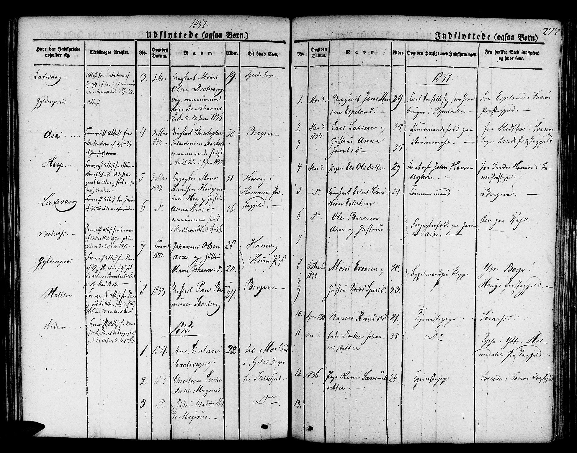 SAB, Askøy Sokneprestembete, H/Ha/Haa/Haaa/L0004: Parish register (official) no. A 4, 1825-1845, p. 277