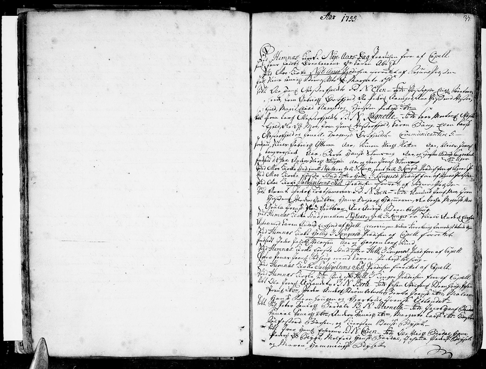 SAT, Ministerialprotokoller, klokkerbøker og fødselsregistre - Nordland, 825/L0348: Parish register (official) no. 825A04, 1752-1788, p. 37