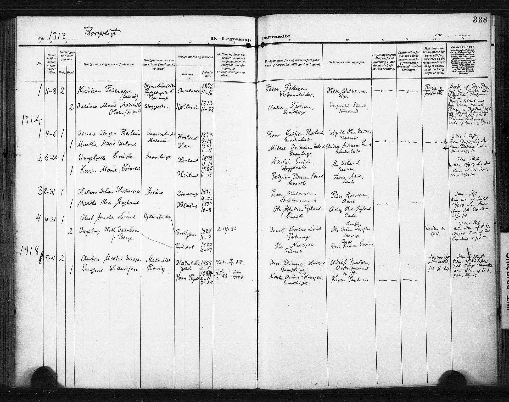 SAST, Høyland sokneprestkontor, 30BA/L0017: Parish register (official) no. A 15, 1912-1924, p. 338