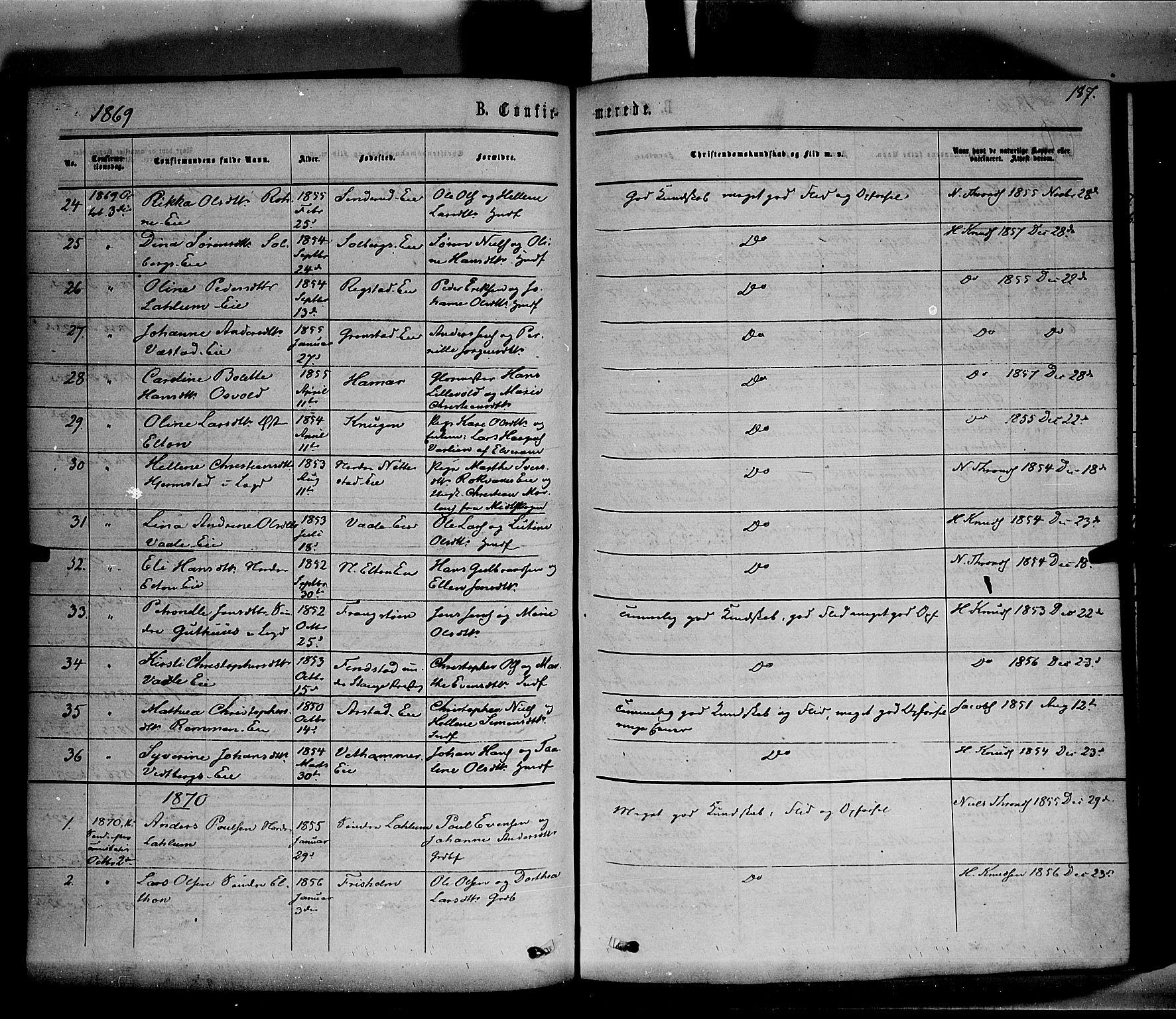 SAH, Stange prestekontor, K/L0013: Parish register (official) no. 13, 1862-1879, p. 187
