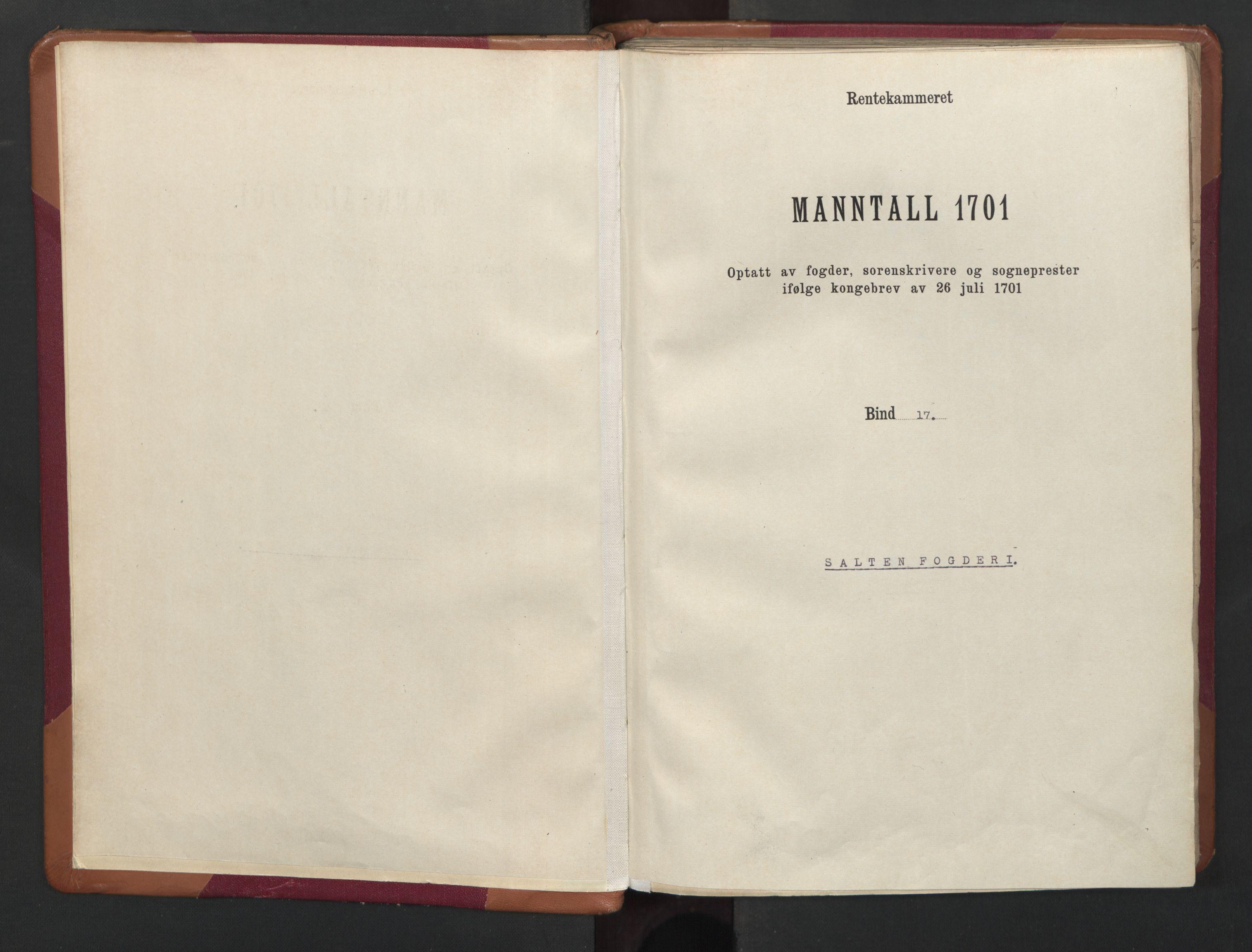 RA, Census (manntall) 1701, no. 17: Salten fogderi, 1701