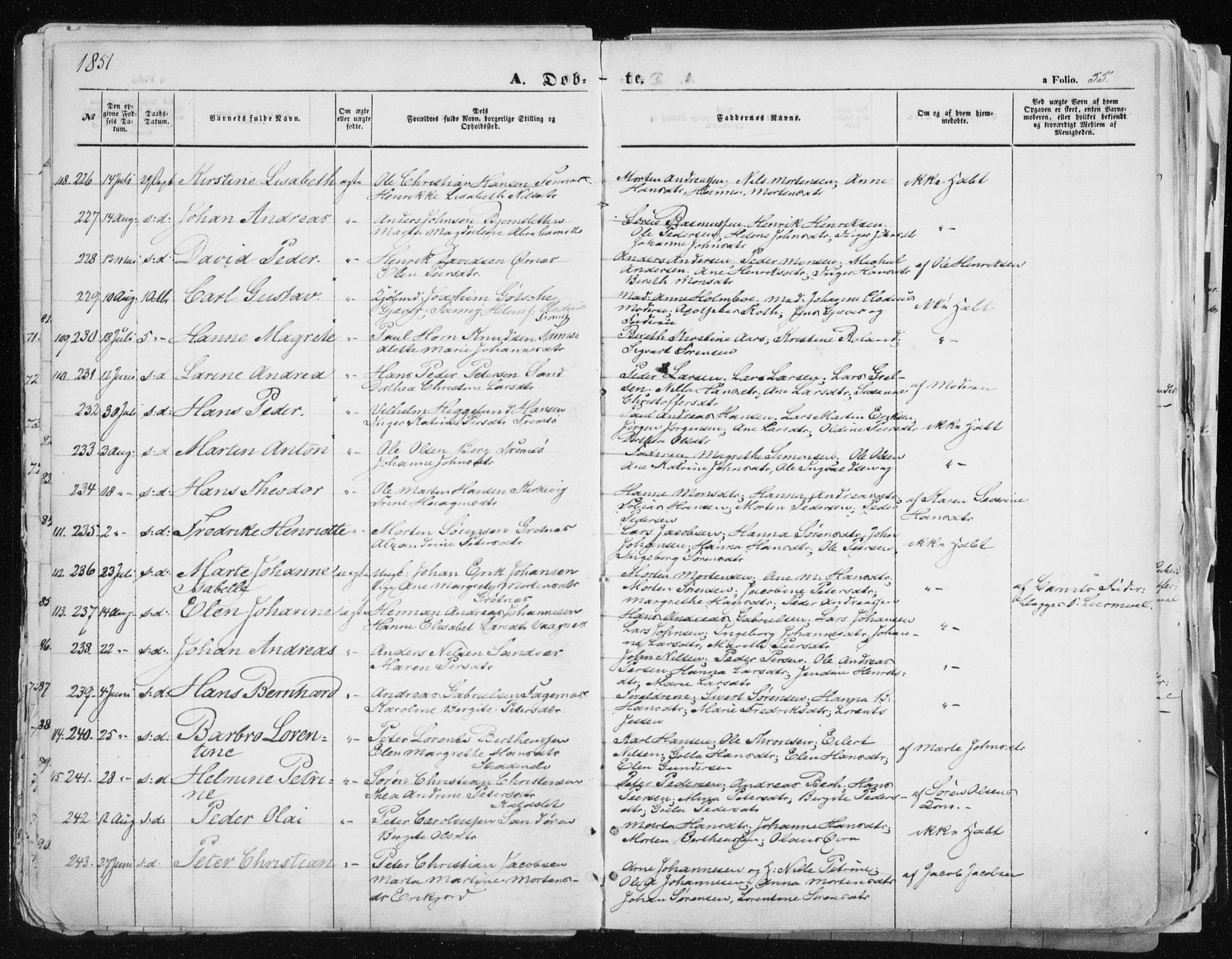 SATØ, Tromsø sokneprestkontor/stiftsprosti/domprosti, G/Ga/L0010kirke: Parish register (official) no. 10, 1848-1855, p. 55