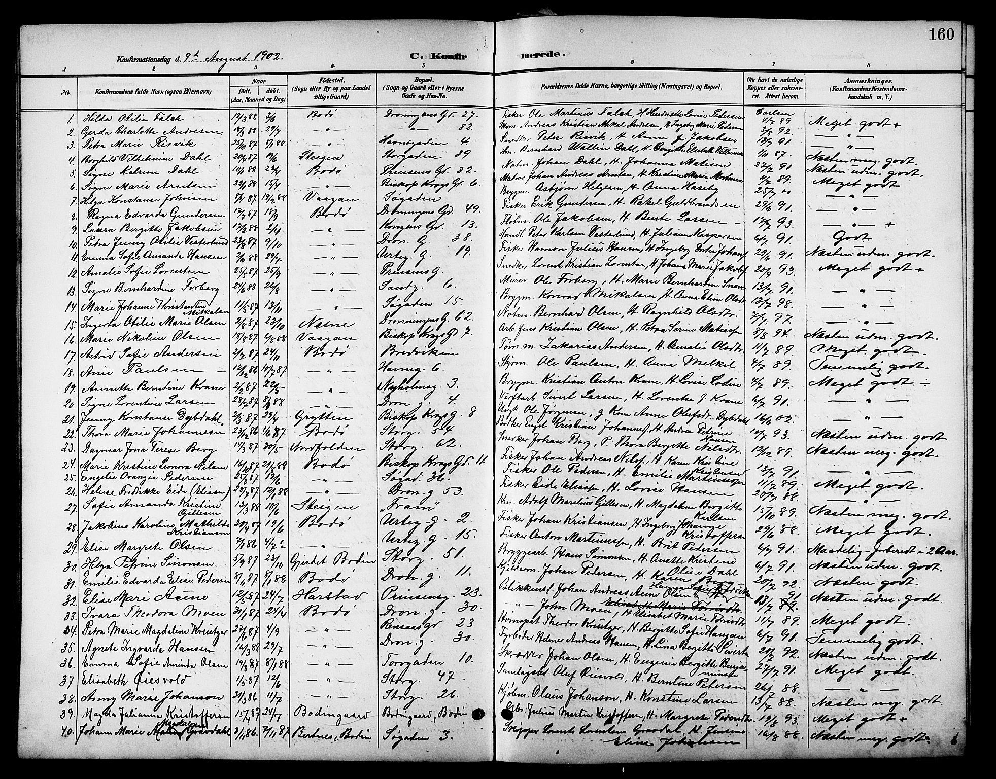 SAT, Ministerialprotokoller, klokkerbøker og fødselsregistre - Nordland, 801/L0033: Parish register (copy) no. 801C08, 1898-1910, p. 160